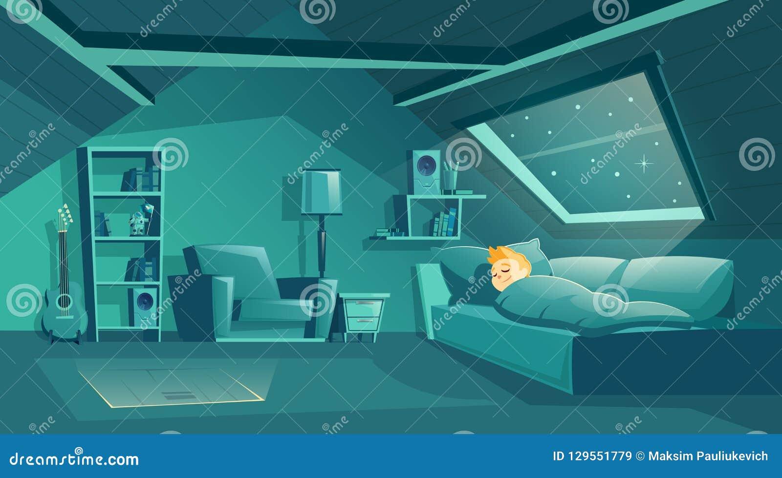 Vector la stanza della soffitta alla notte con il ragazzo addormentato