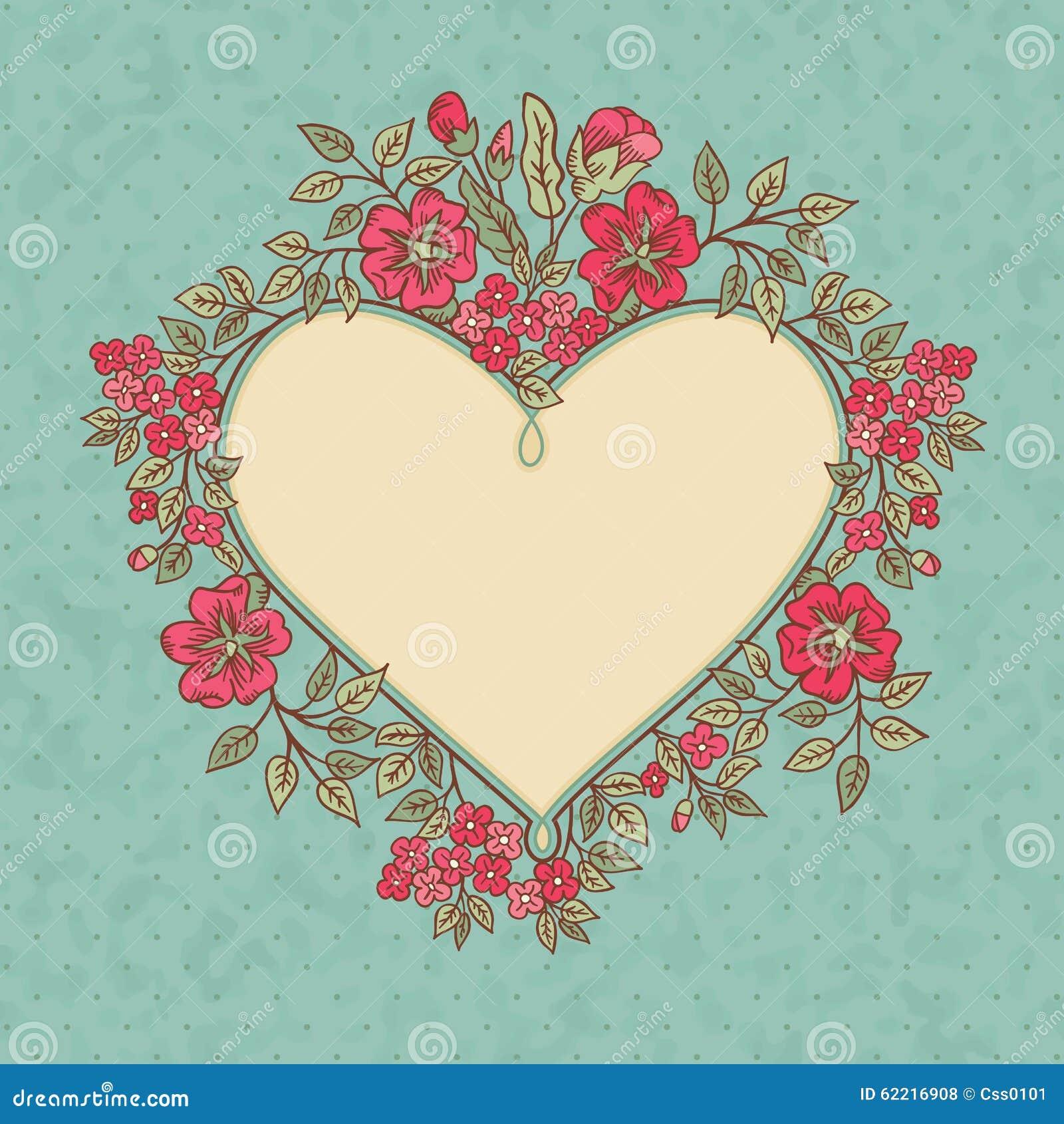 Vector la tarjeta de felicitaci n del vintage con un ramo de las flores del rojo del garabato y - Marcos de fotos vintage ...