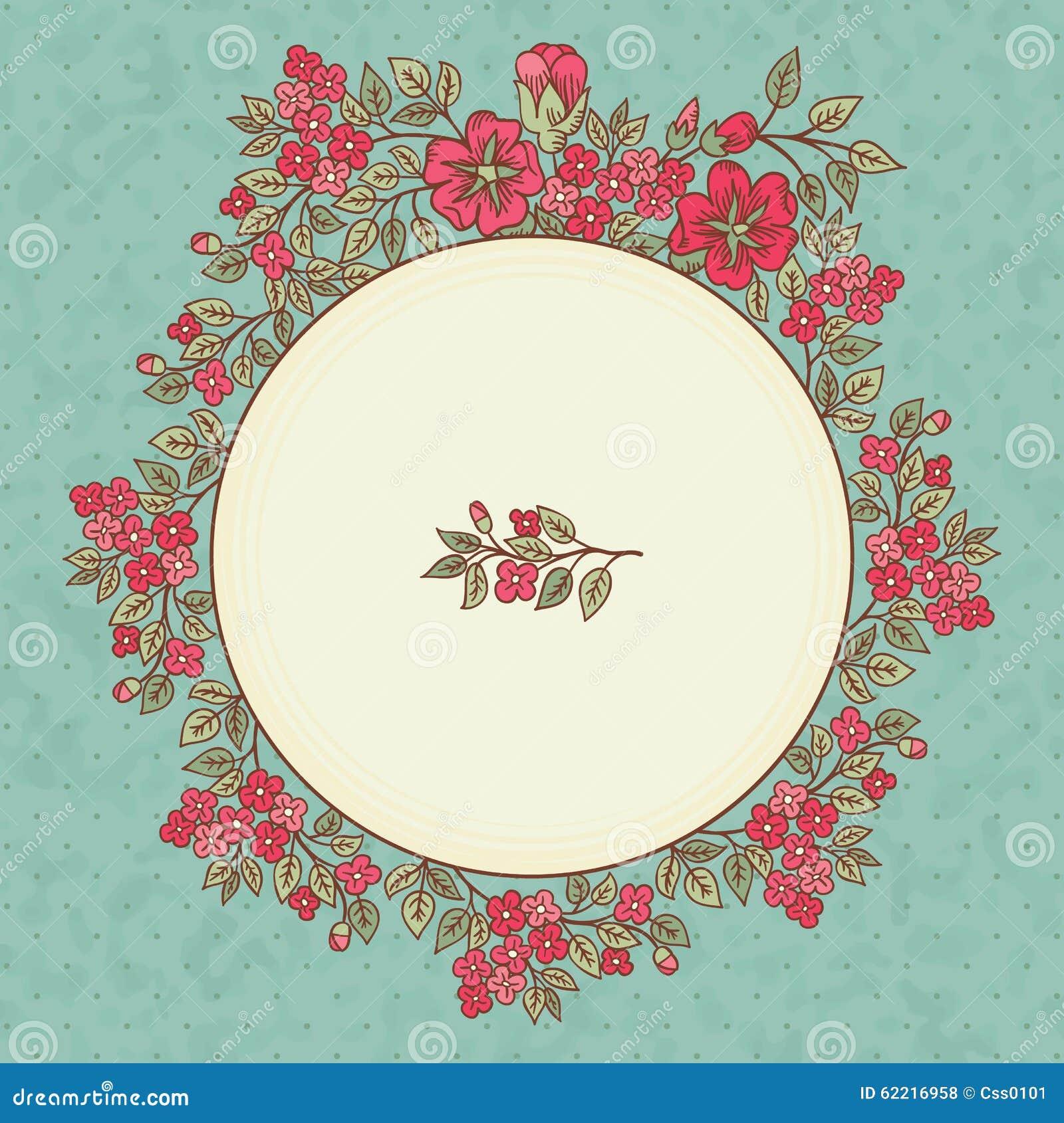 Vector la tarjeta de felicitaci n del vintage con un ramo - Marcos vintage para fotos ...