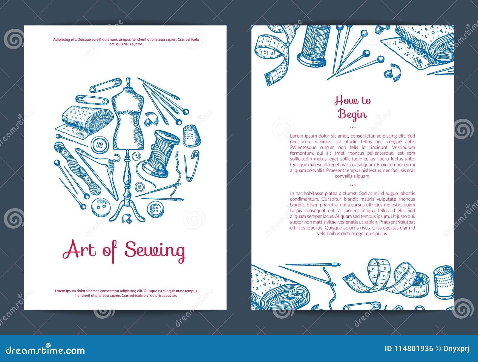 Vector la tarjeta, el aviador o el folleto de costura dibujado mano de los elementos