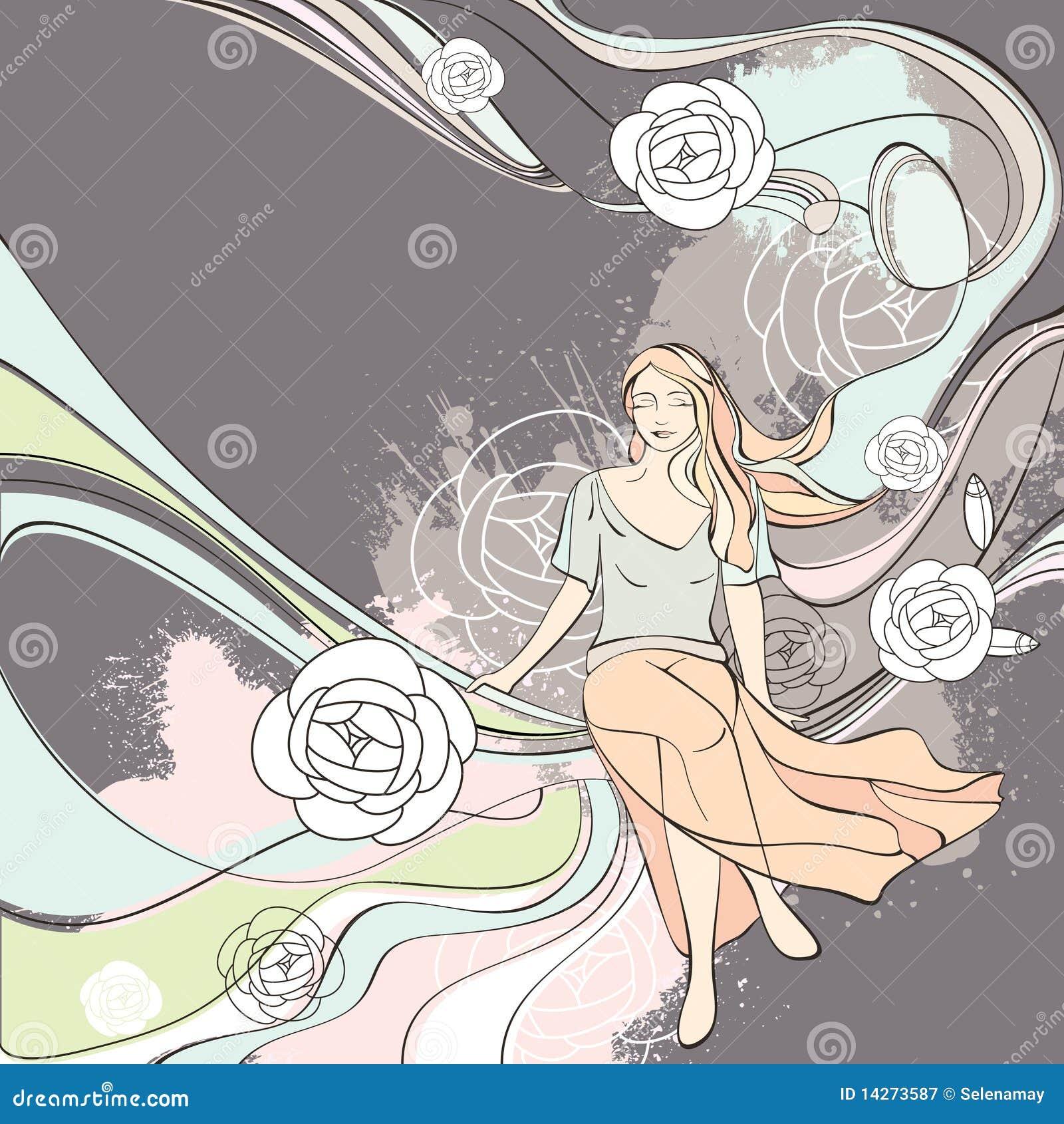 Vector la tarjeta romántica de la ilustración