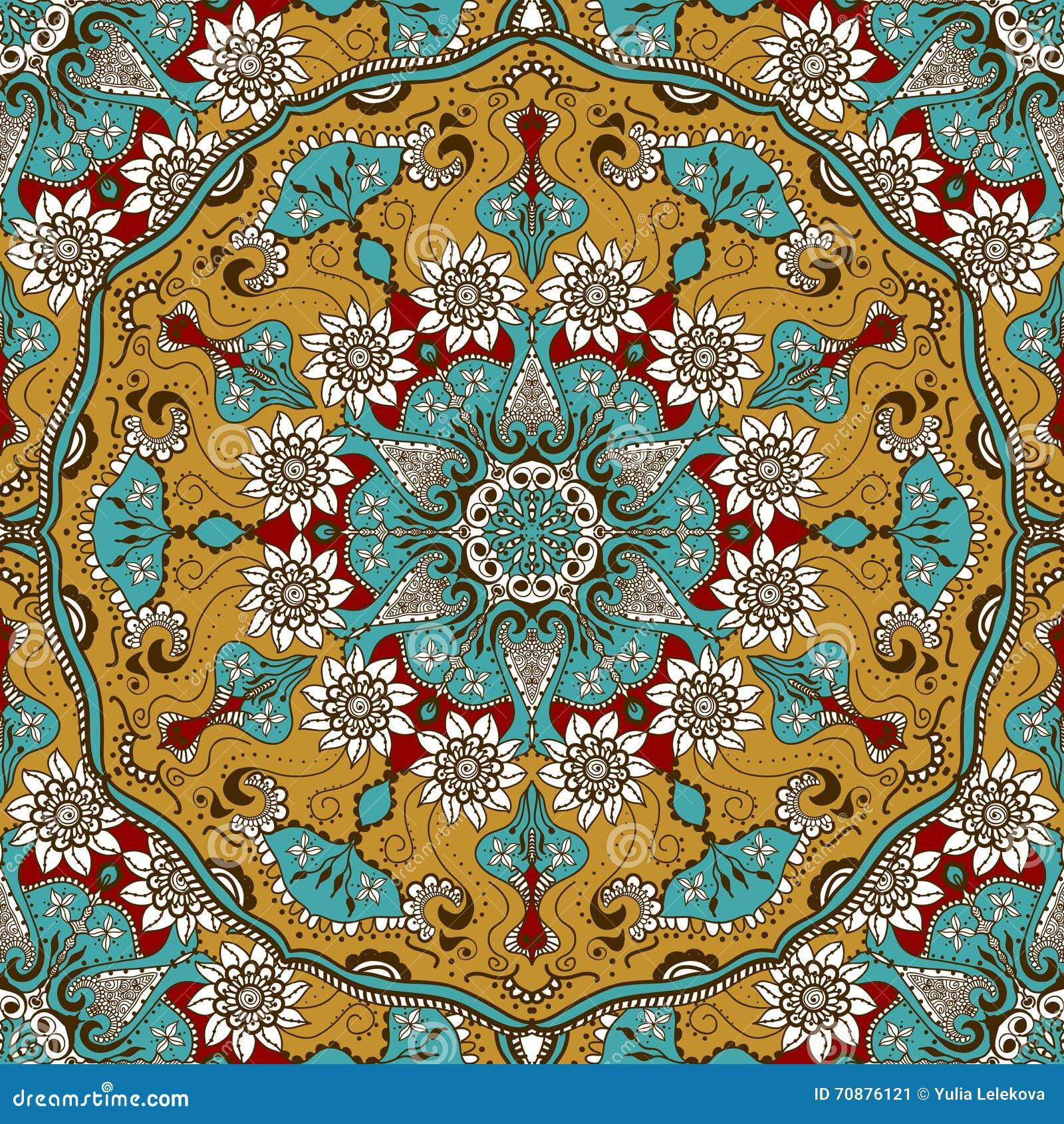 Vector la textura inconsútil con la mandala floral en estilo indio Fondo del ornamental de Mehndi