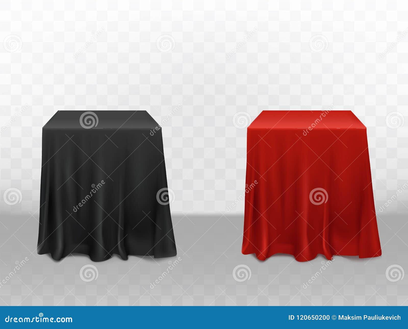 Tovaglia Nera E Oro vector la tovaglia di seta rossa 3d e nera realistica