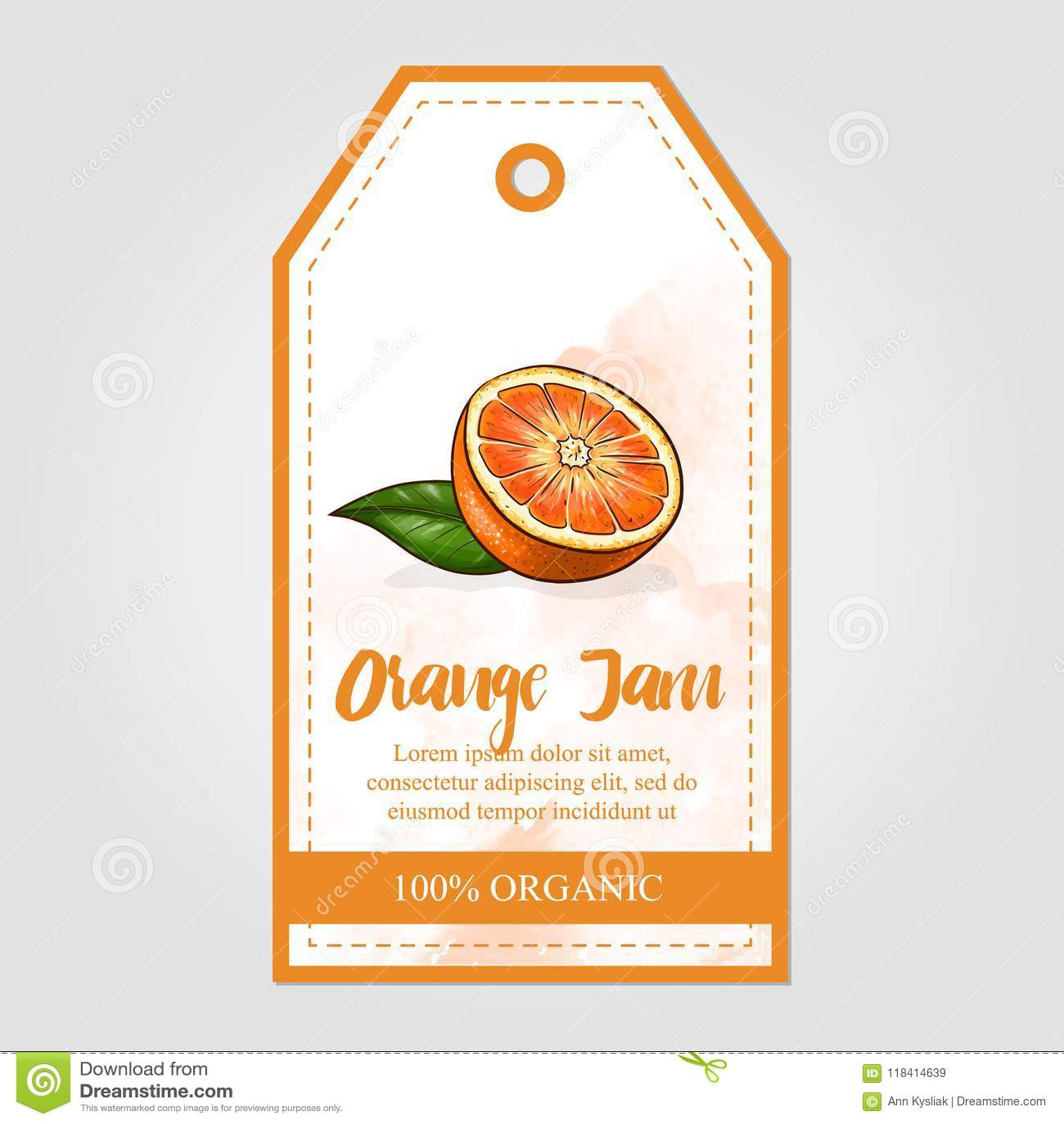 vector label of orange jam with watercolor background stock vector