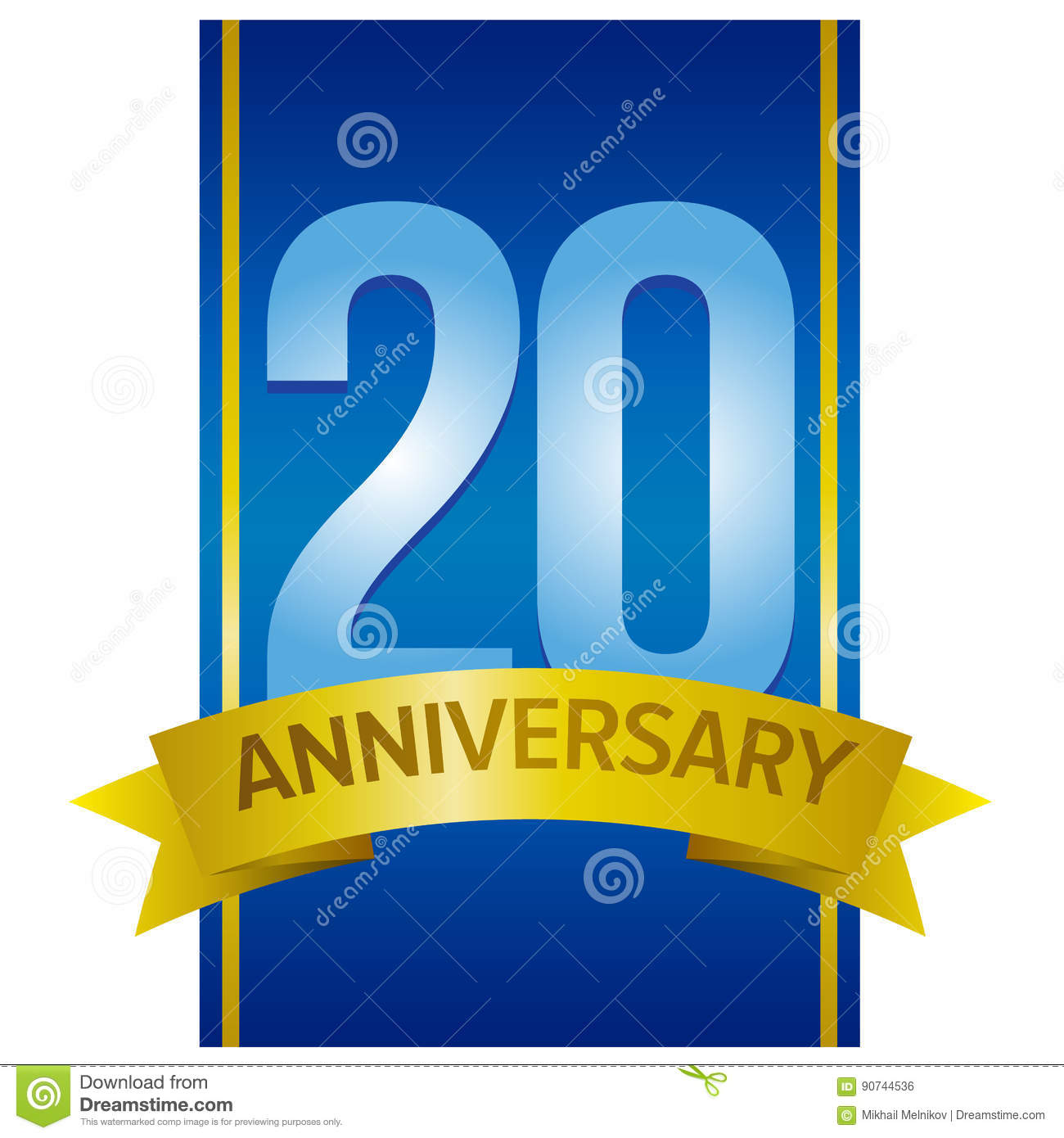 Vector label for 20th anniversary