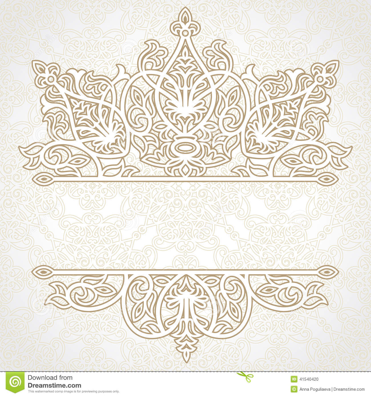 Vector Lace Card In East Style On Moroccan Seamless Background. Stock Vector - Image: 41540420