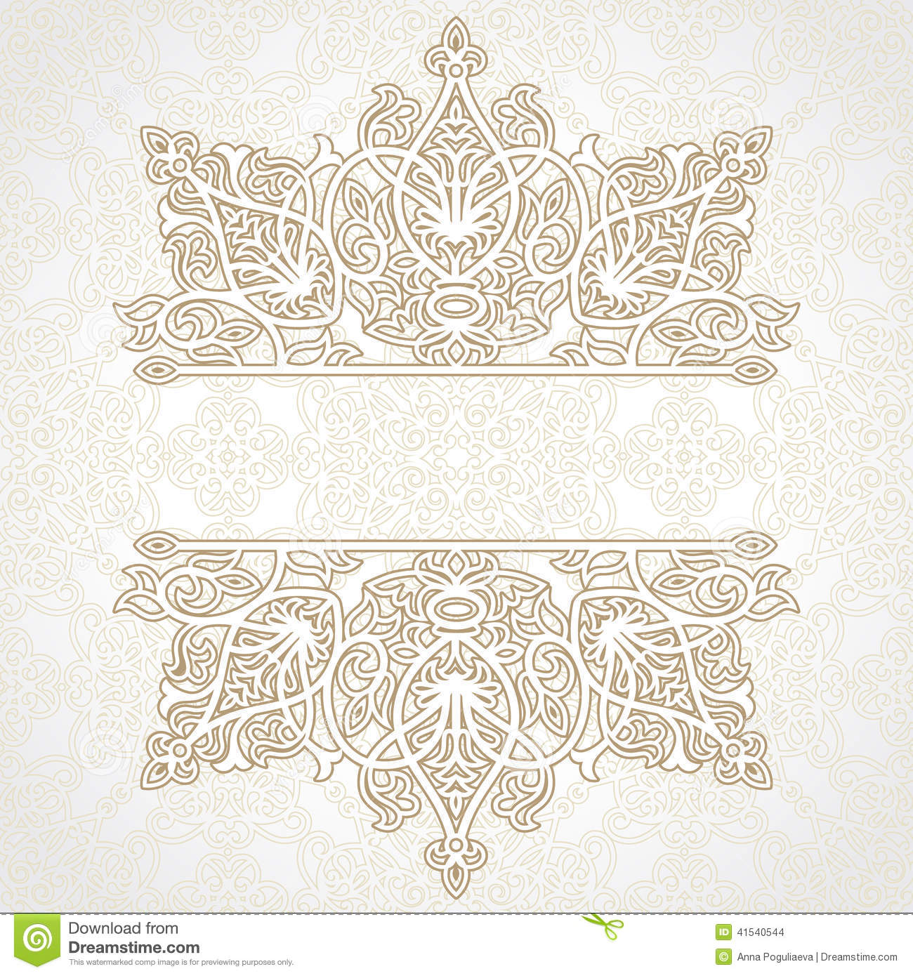 Vector Lace Card In East Style On Moroccan Seamless Background Stock Vector