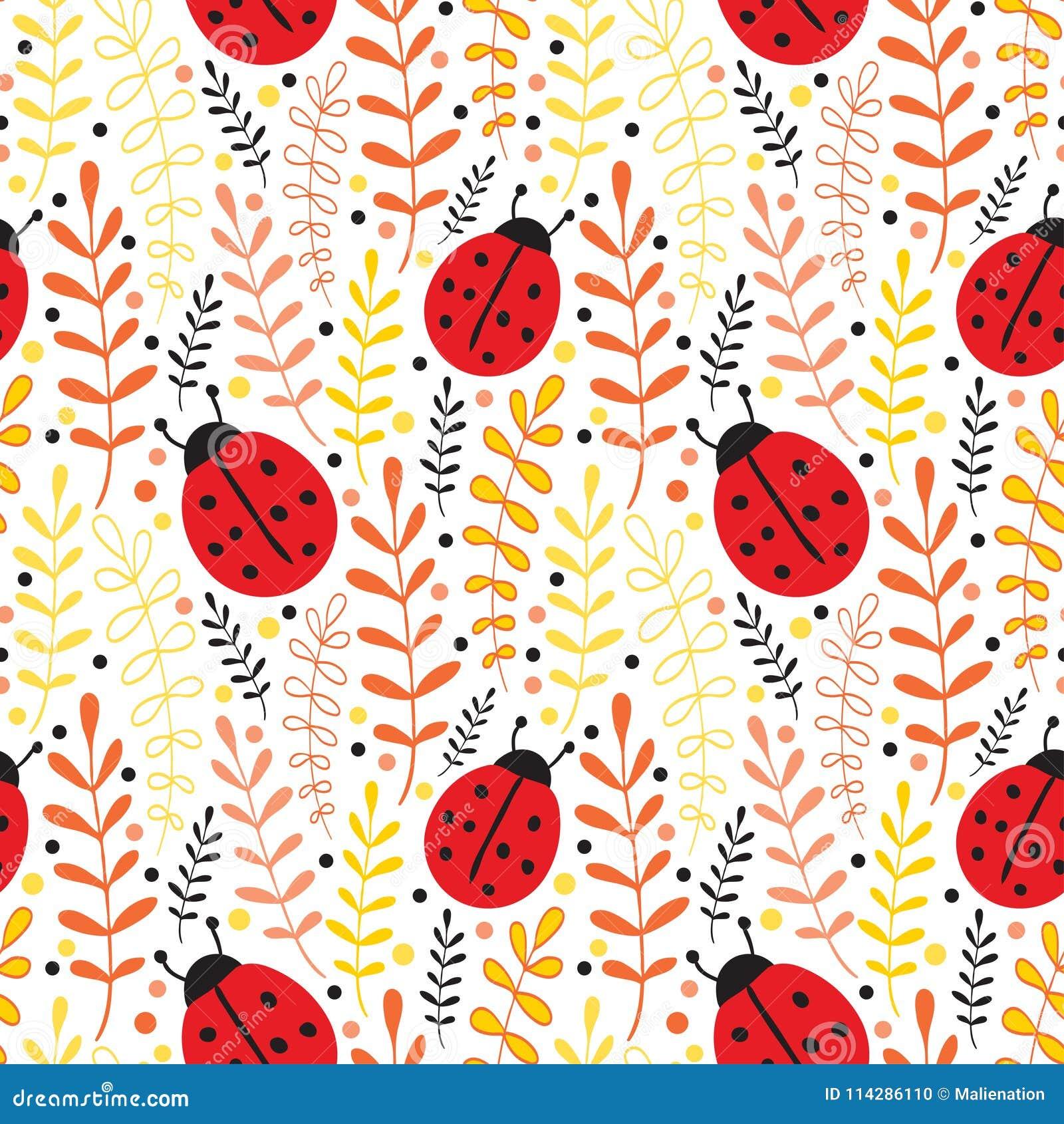 Vector Ladybug Seamless Pattern Background Summer Textile Print