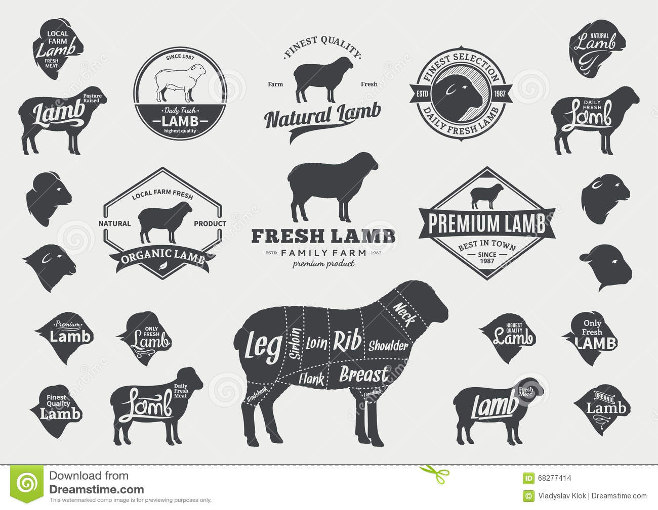 Vector Lamb Logo, Icons, Charts And Design Elements Stock Vector ...