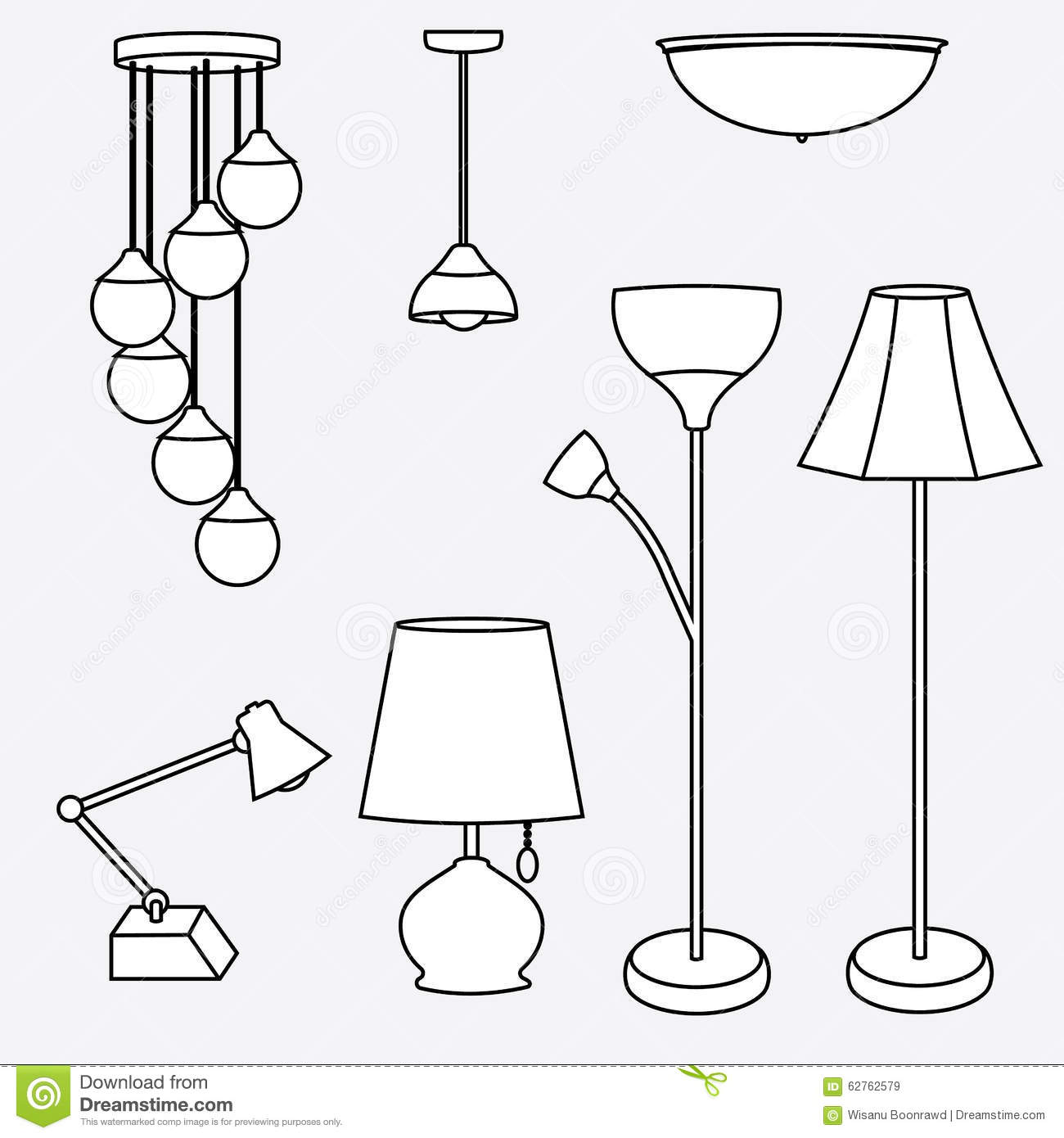 Vector of lamp collection types of lighting stock - Tipos de lamparas ...