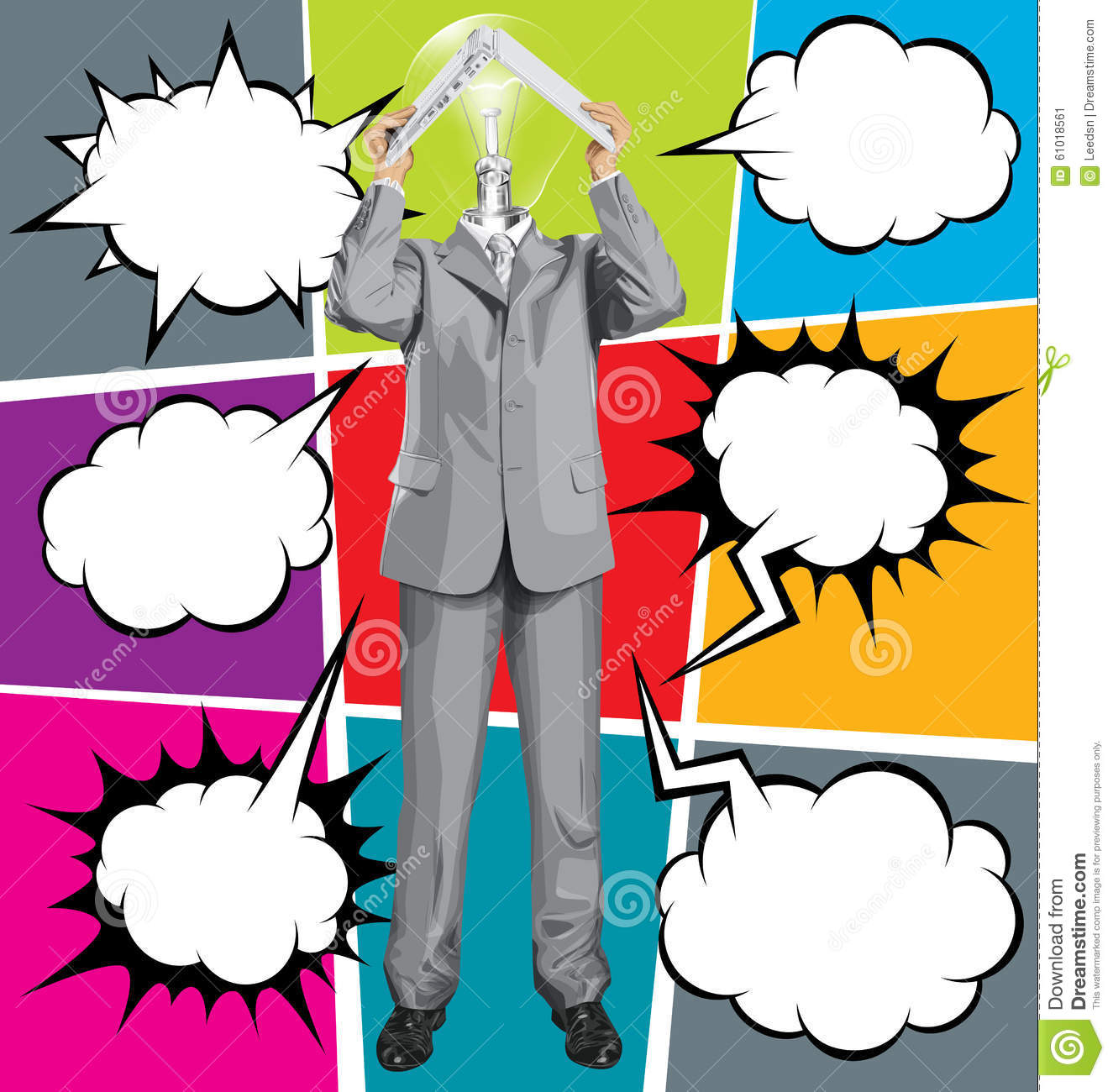 Vector Lamp Head Business Man Hides Under The Laptop With . 10e8b7c15