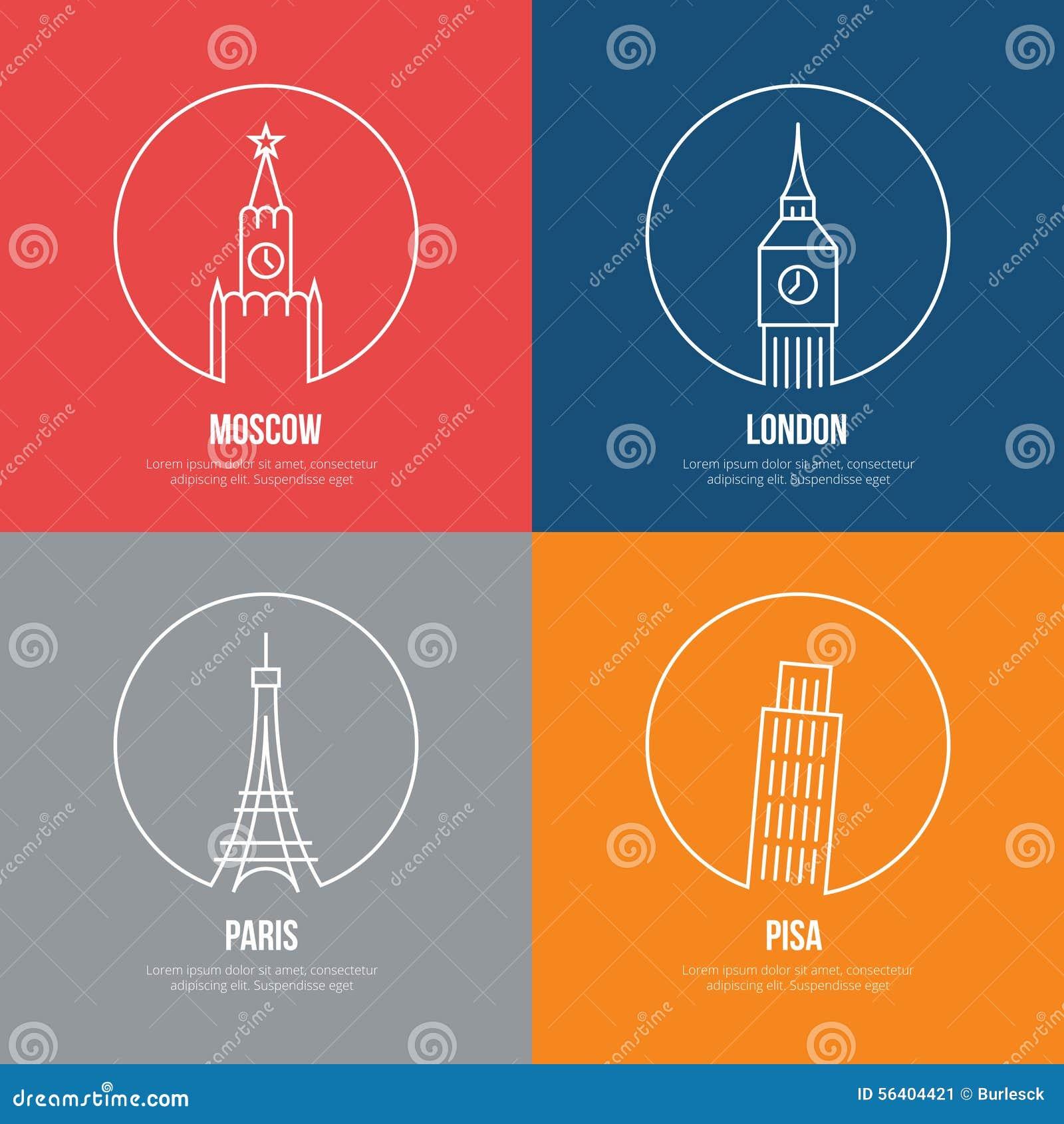 Line Art Poster : Vector landmarks line art posters stock image