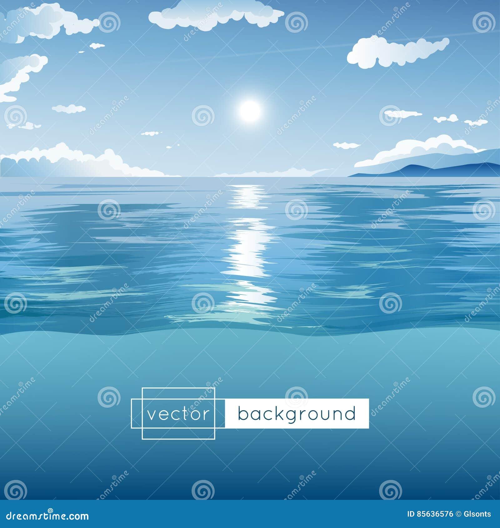 Vector Landschaft Mit Meer, Blauem Himmel, Sonne, Wolken Und Hügeln ...