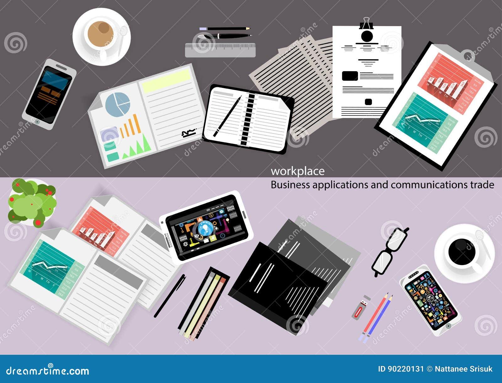 Vector las aplicaciones empresariales y las comunicaciones con el papel comercial, documentos, ficheros, plumas, lápices, teléfon