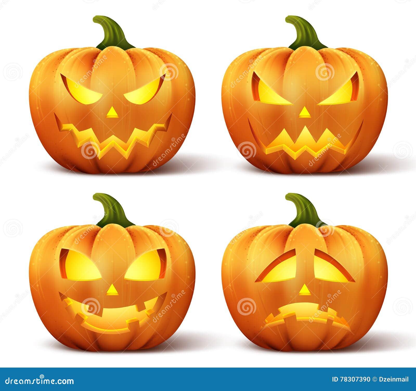 Vector las calabazas con el sistema de diversas caras para - Calabazas de halloween de miedo ...