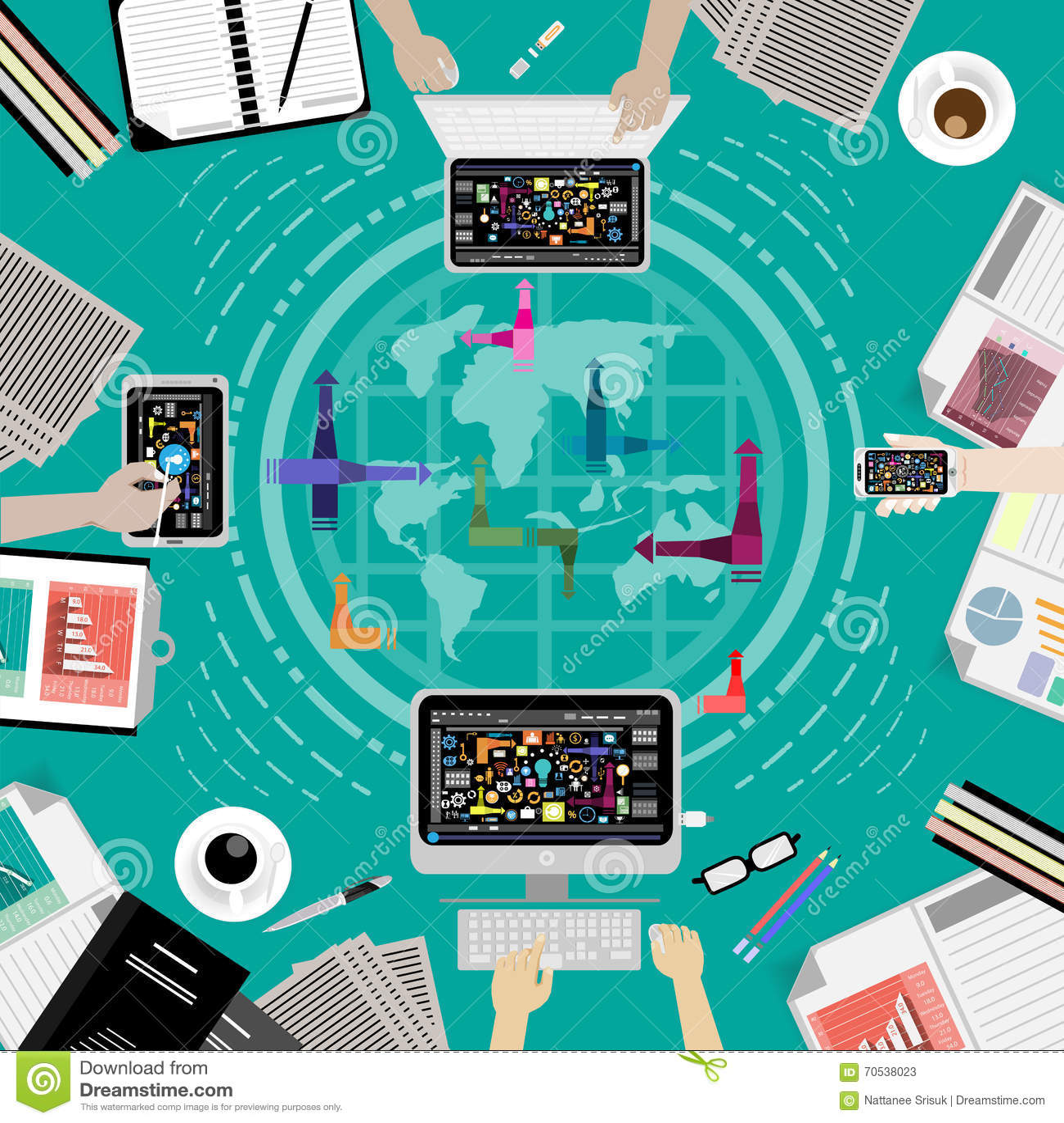 Vector las comunicaciones empresariales por todo el mundo for Todo tecnologia