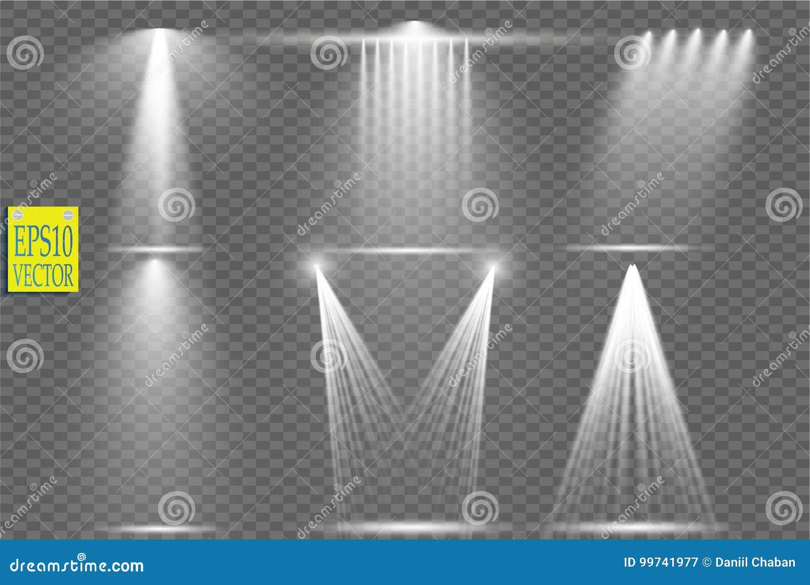 Vector las fuentes de luz, iluminación del concierto, proyectores de la etapa fijados Concierte el proyector con el haz, proyecto