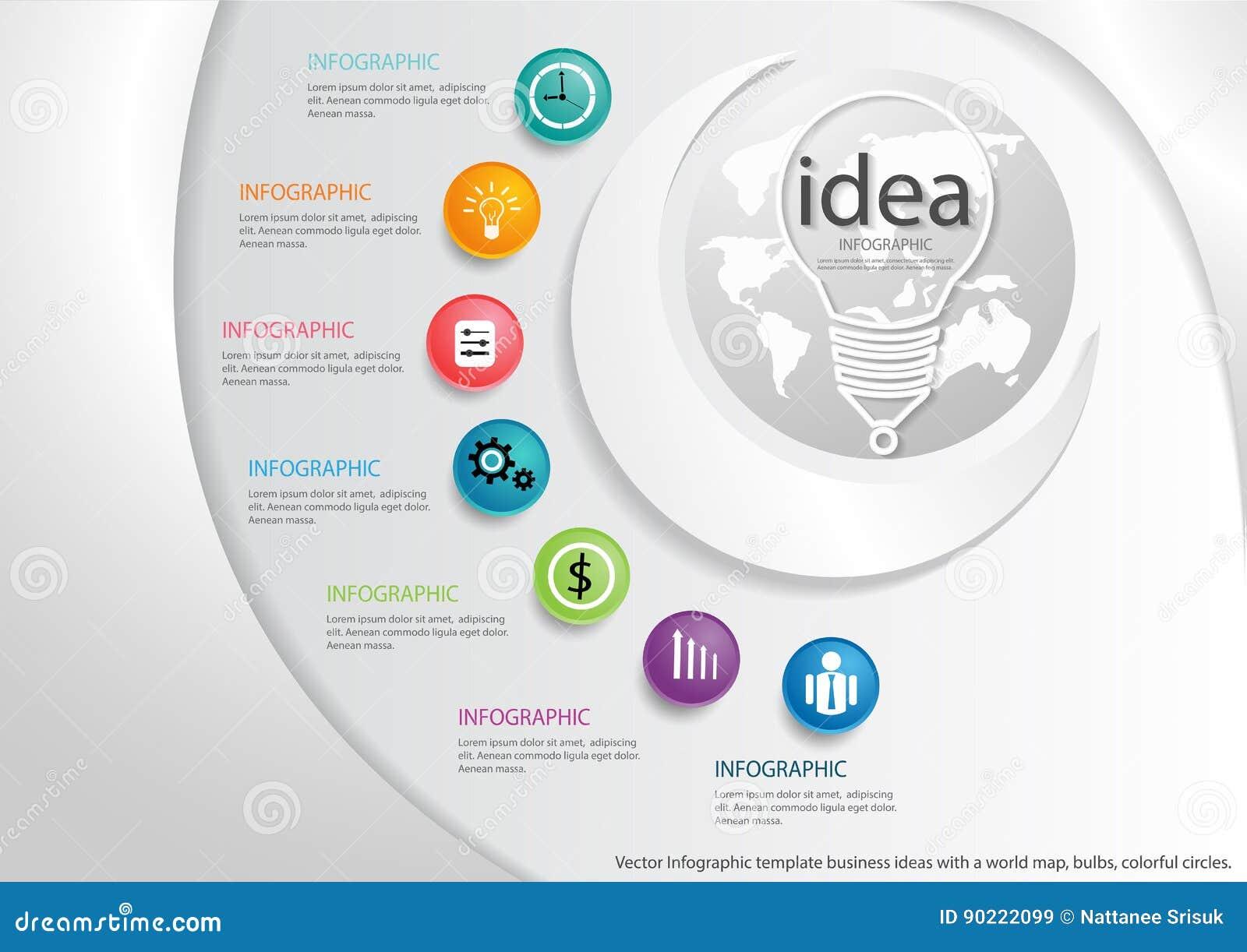 Vector Las Ideas Con Un Mapa Del Mundo, Bulbos, Círculos Coloridos ...