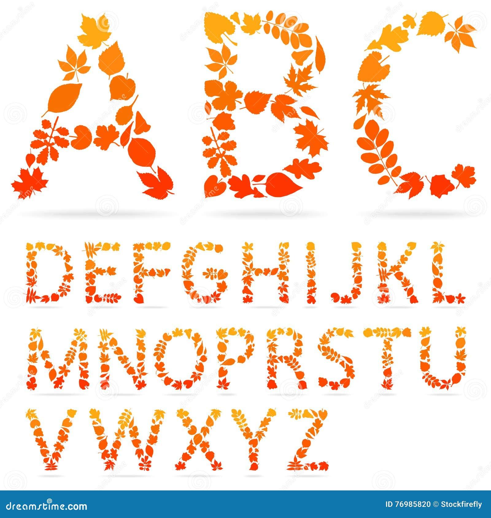 Vector las letras del alfabeto hechas de las hojas de otoño coloridas