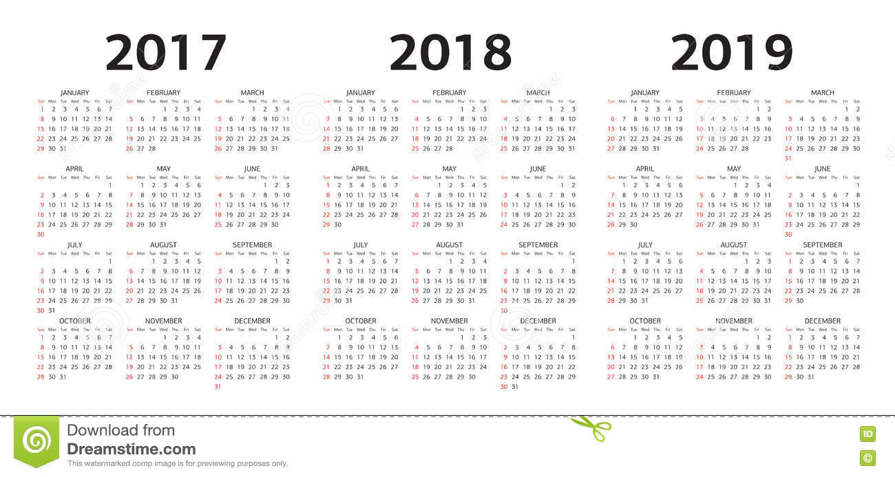 Vector Las Plantillas Del Calendario 2017, 2018, 2019 ...