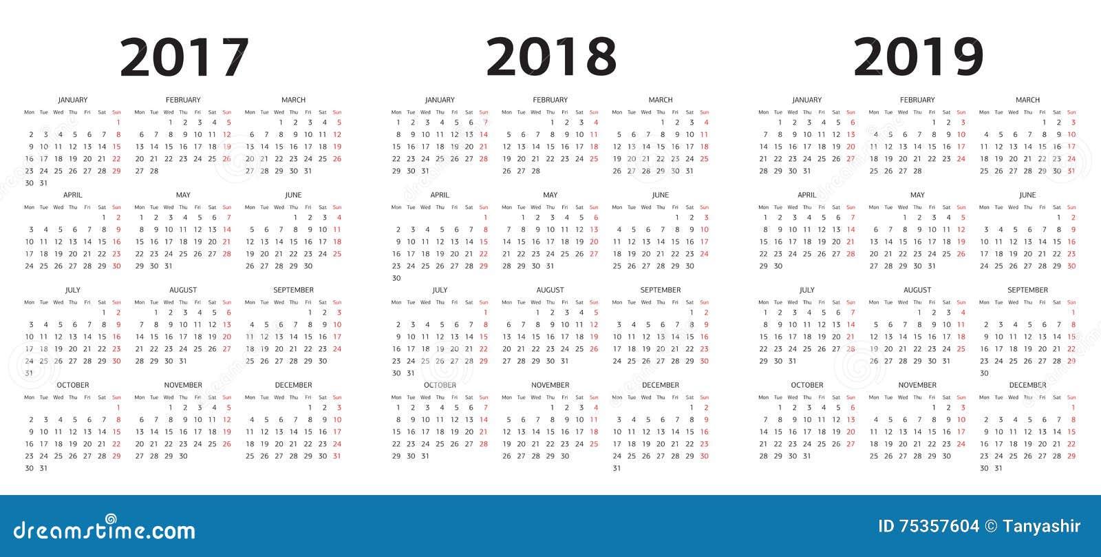 Vector Las Plantillas Del Calendario 2017, 2018, 2019 Ilustración ...