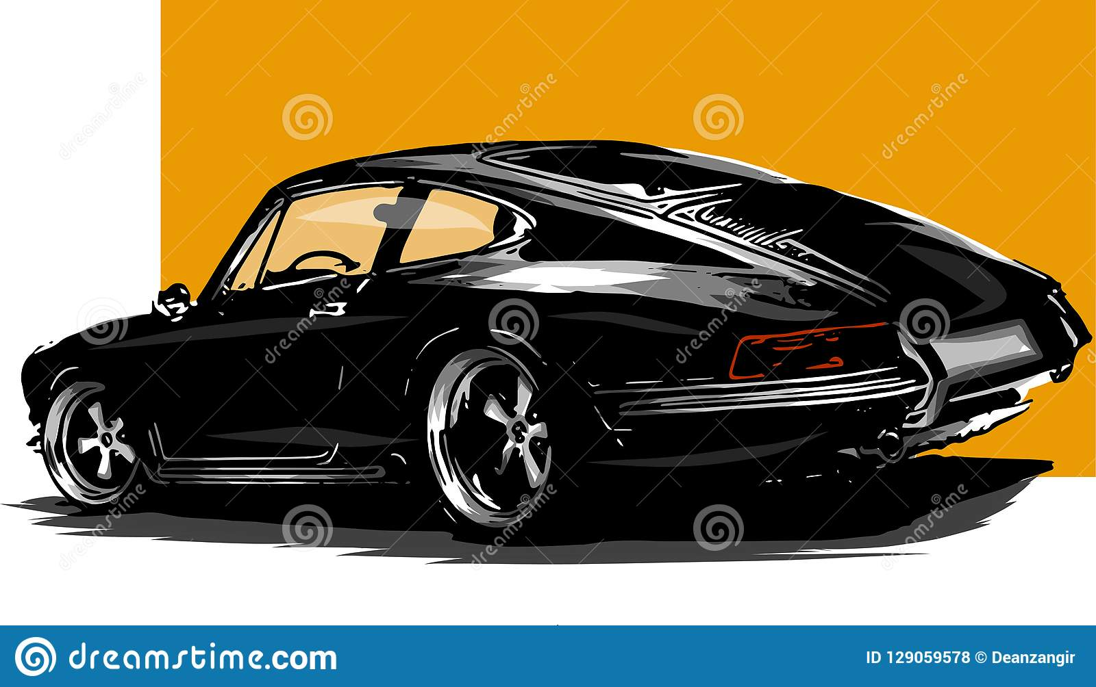Vector las siluetas clásicas europeas del coche de deportes, esquemas, contornos Su insignia