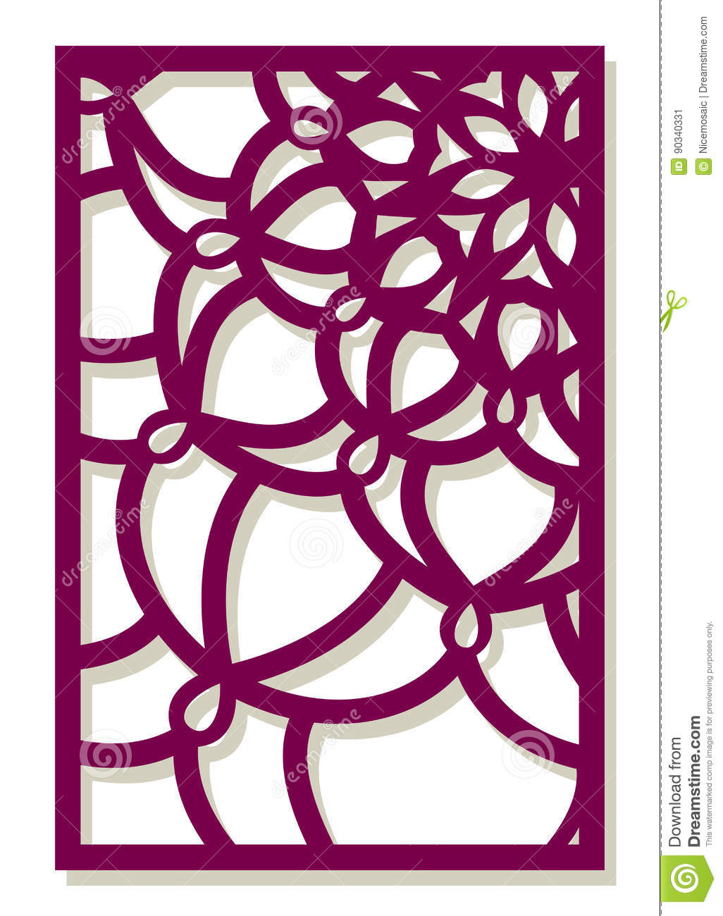 Vector laser cut panel abstract pattern template for for Wall art templates free