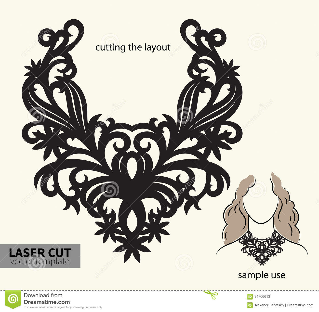 Vector Laser Cutting Necklace. Stock Vector - Illustration of ...