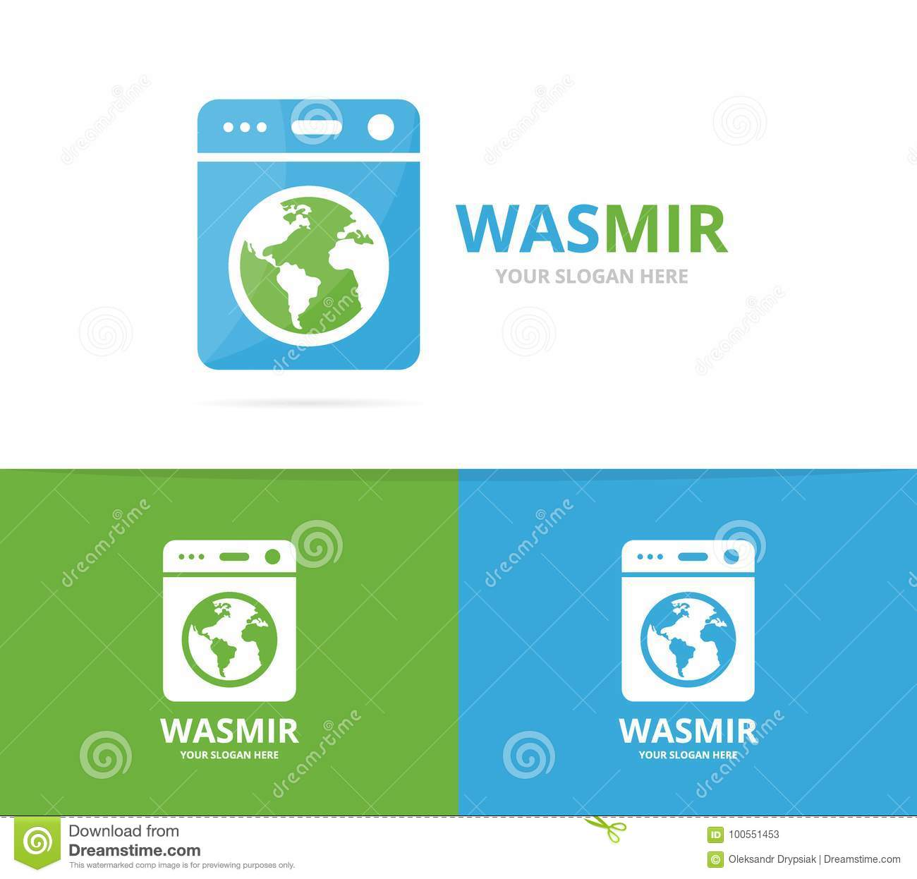 Vector Of Laundry And World Logo Combination Washing Machine And