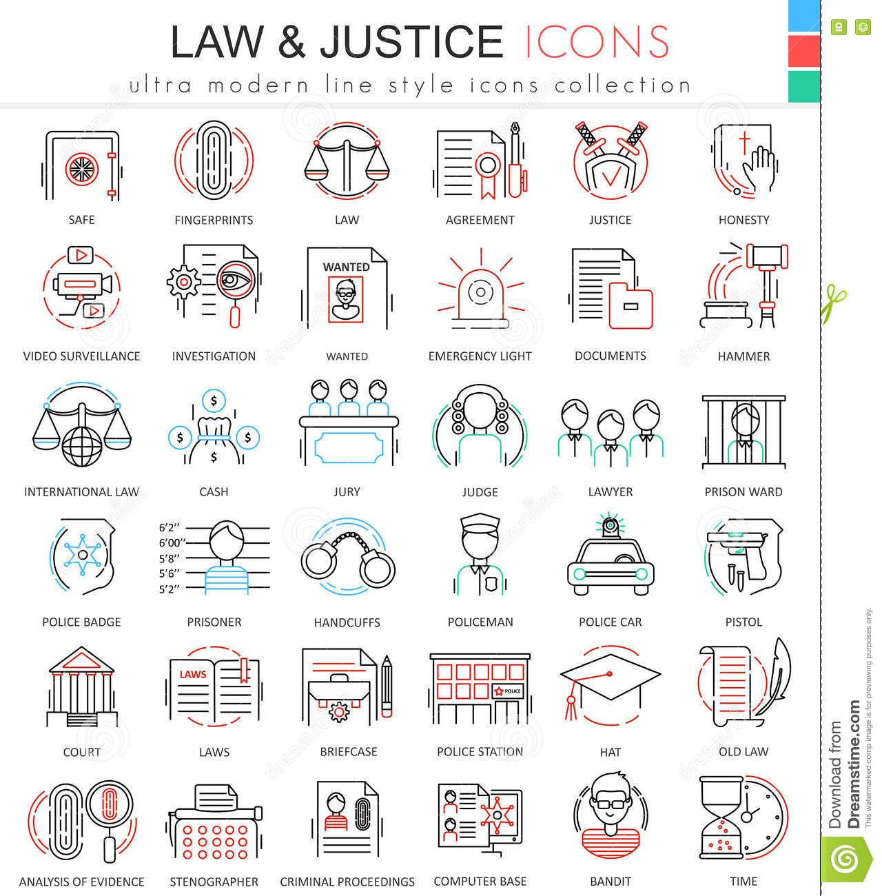 Modern colors web design - Vector Law And Justice Ultra Modern Color Outline Line Icons For Apps And Web Design