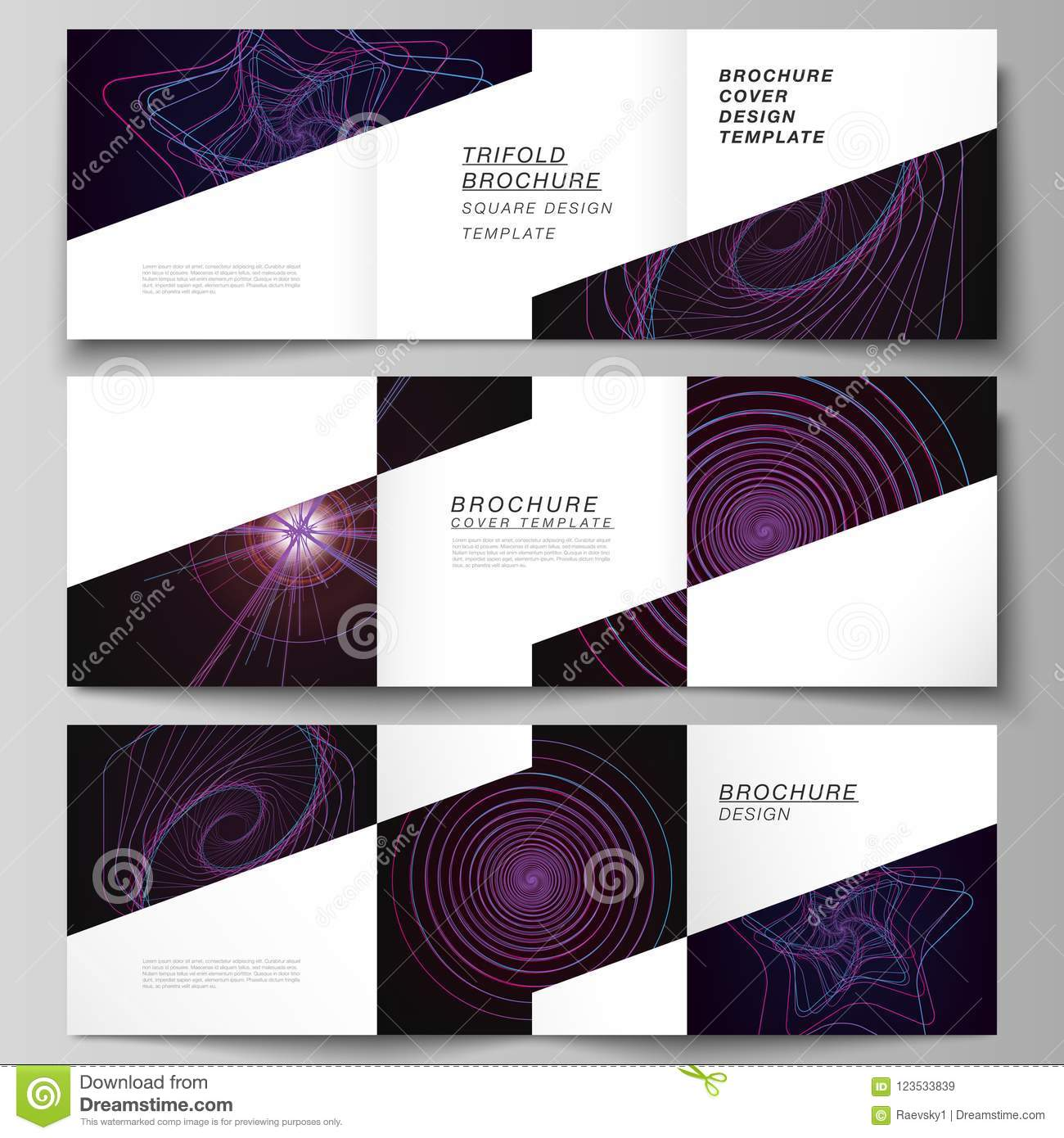 download vector layout of two square format covers design templates for trifold square brochure flyer
