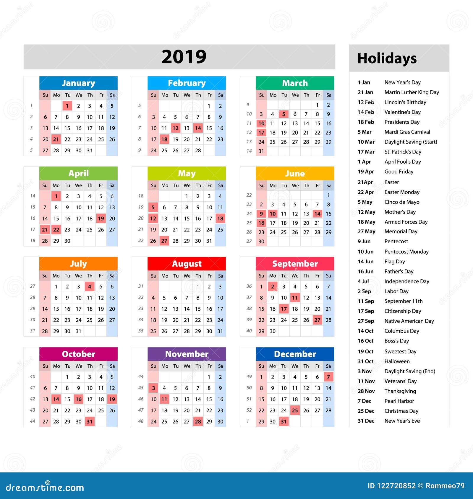 Calendario Nazionali.Vector Le Feste Nazionali Per Il Calendario 2019 Di U S A