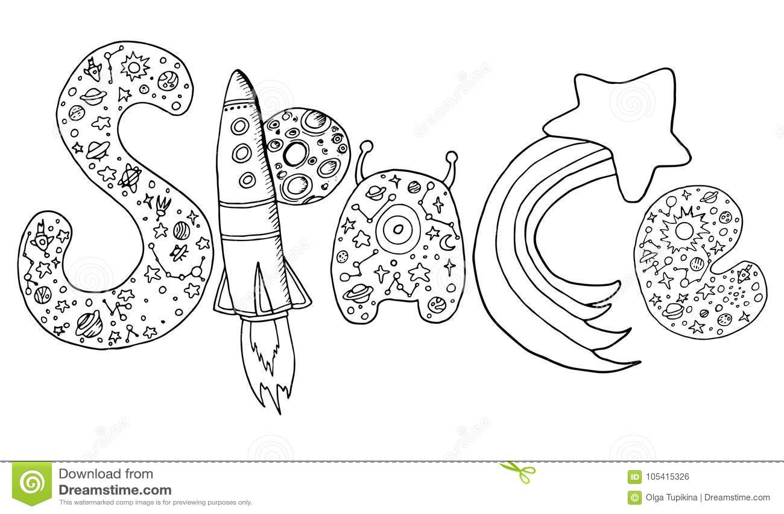 Vector Le Lettere Del Disegno Della Mano Con Un Modello Di Spazio