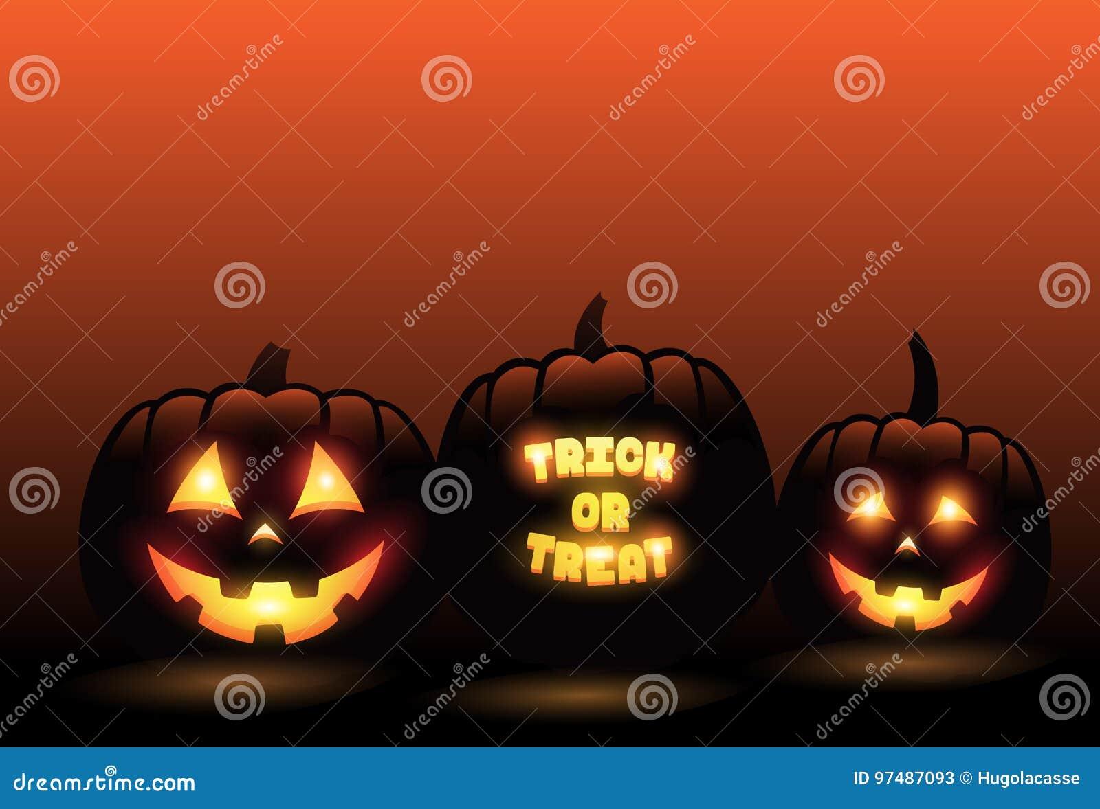 Vector le zucche scolpite davanti al fondo arancio di Halloween di pendenza