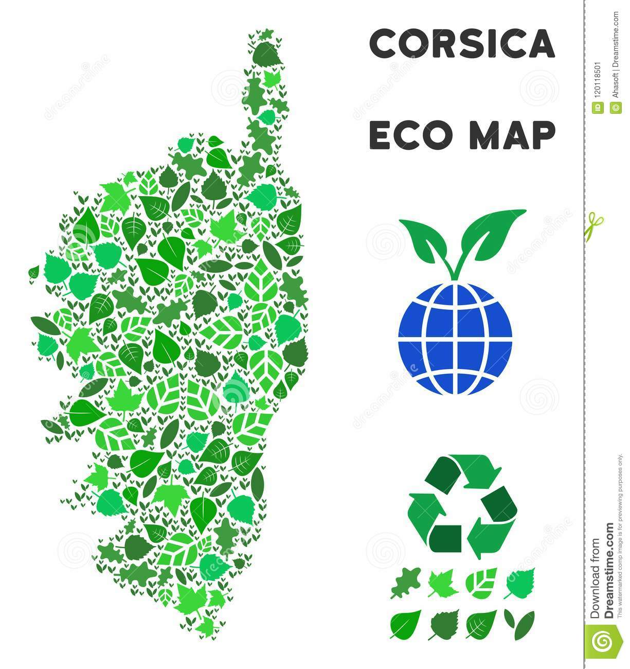 Vector Leaf Green Composition Corsica France Island Map Stock Vector
