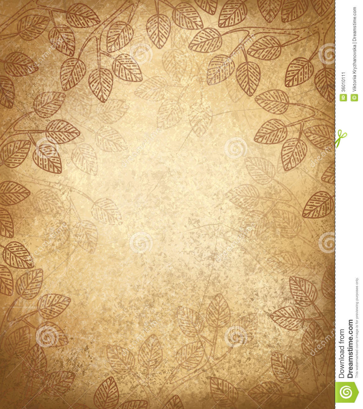 Vector Leaves Pattern On Old Paper Background Stock