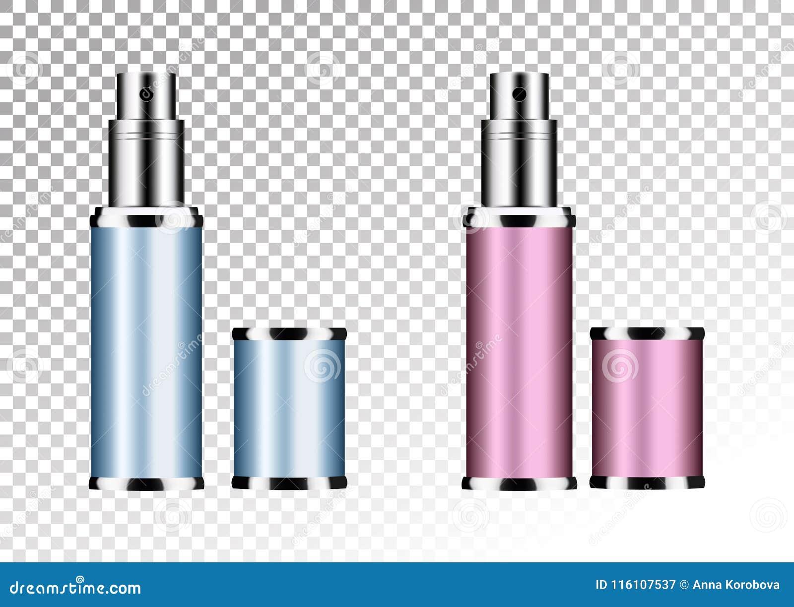 Vector leeres rosa und blaues Paket für kosmetische Produkte Rohr und Parfüm flacon, Flasche für desodorierendes Mittel, Haarspra