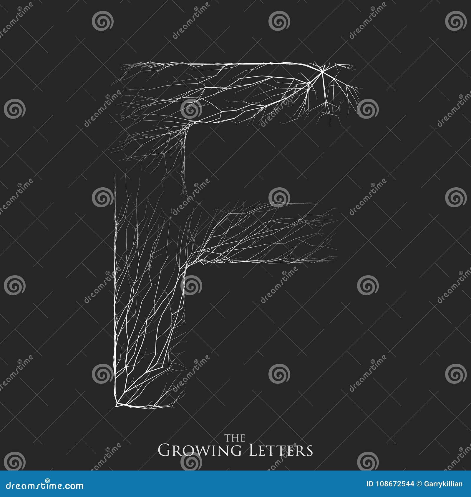 Vector a letra F do ramo ou de alfabeto rachado Símbolo de F que consiste crescendo as linhas brancas Letras fraturadas lighting