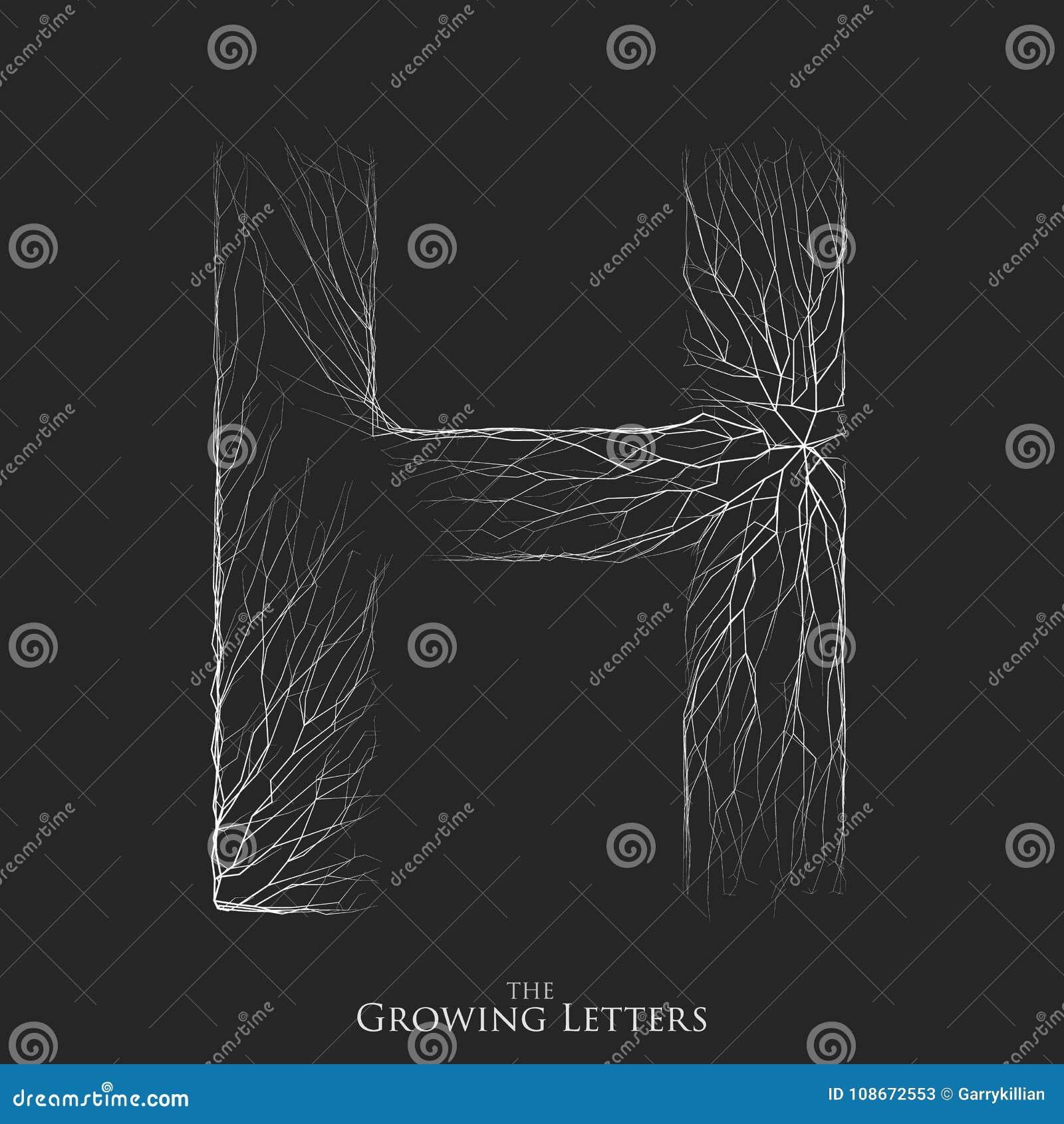 Vector a letra H do ramo ou de alfabeto rachado Símbolo de H que consiste crescendo as linhas brancas Letras fraturadas lighting