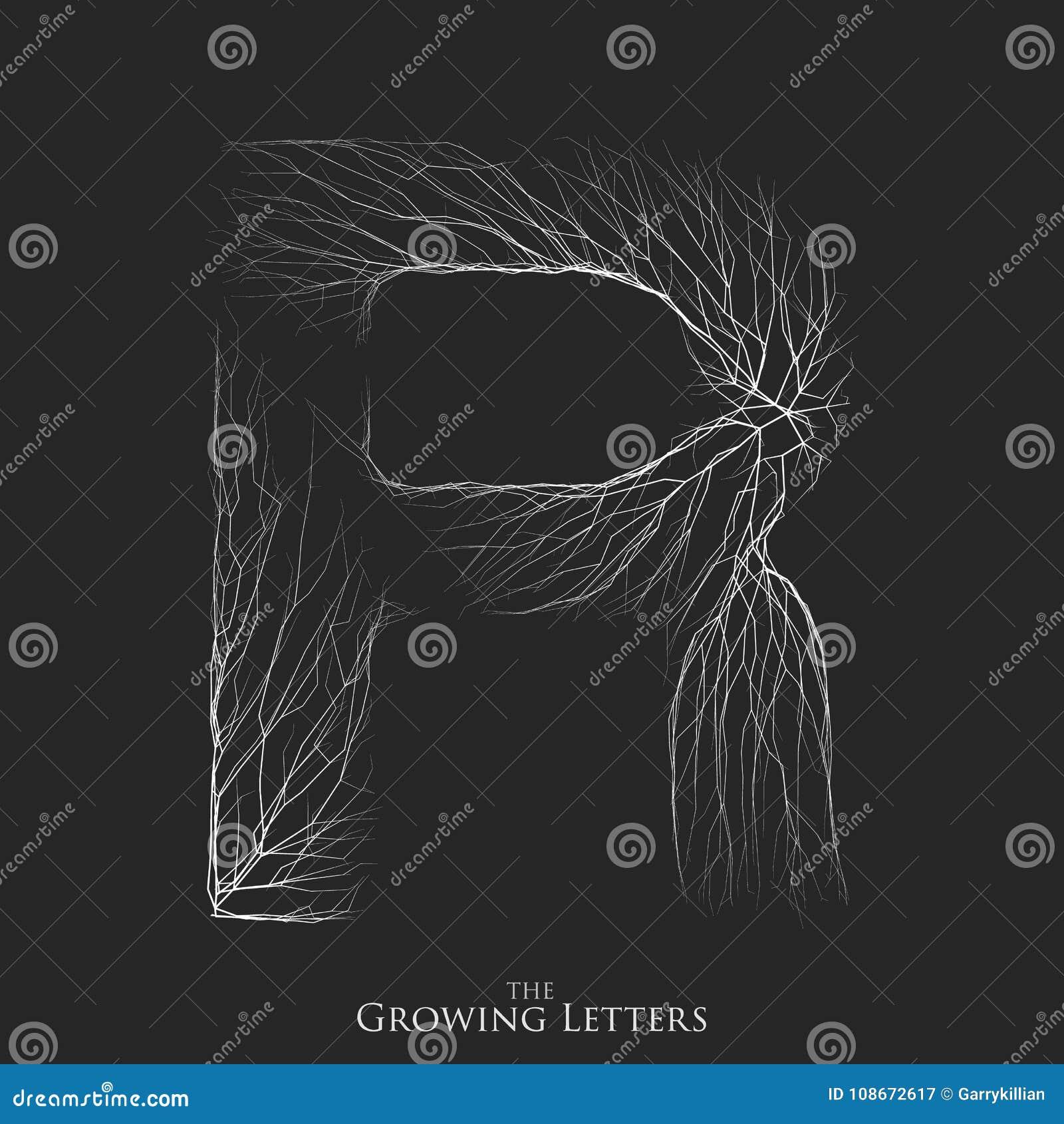 Vector a letra R do ramo ou de alfabeto rachado Símbolo de R que consiste crescendo as linhas brancas Letras fraturadas lighting
