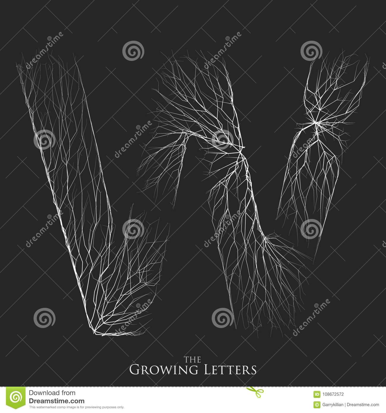 Vector letter W of branch or cracked alphabet. W symbol consisting of growing white lines. Fractured letters. Lighting