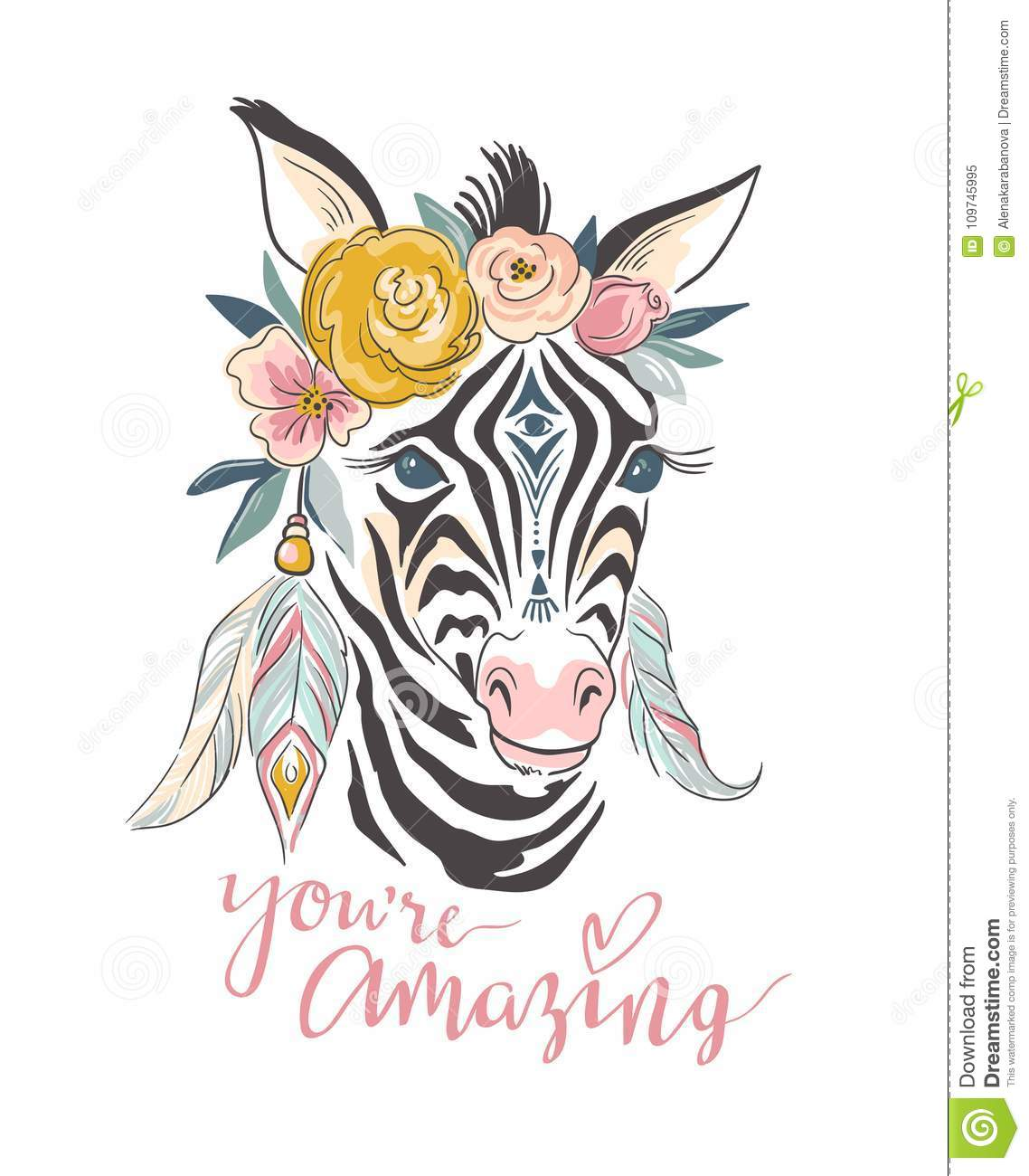 Vector lettering card. Hand drawn stylish illustration with boho zebra and slogan.