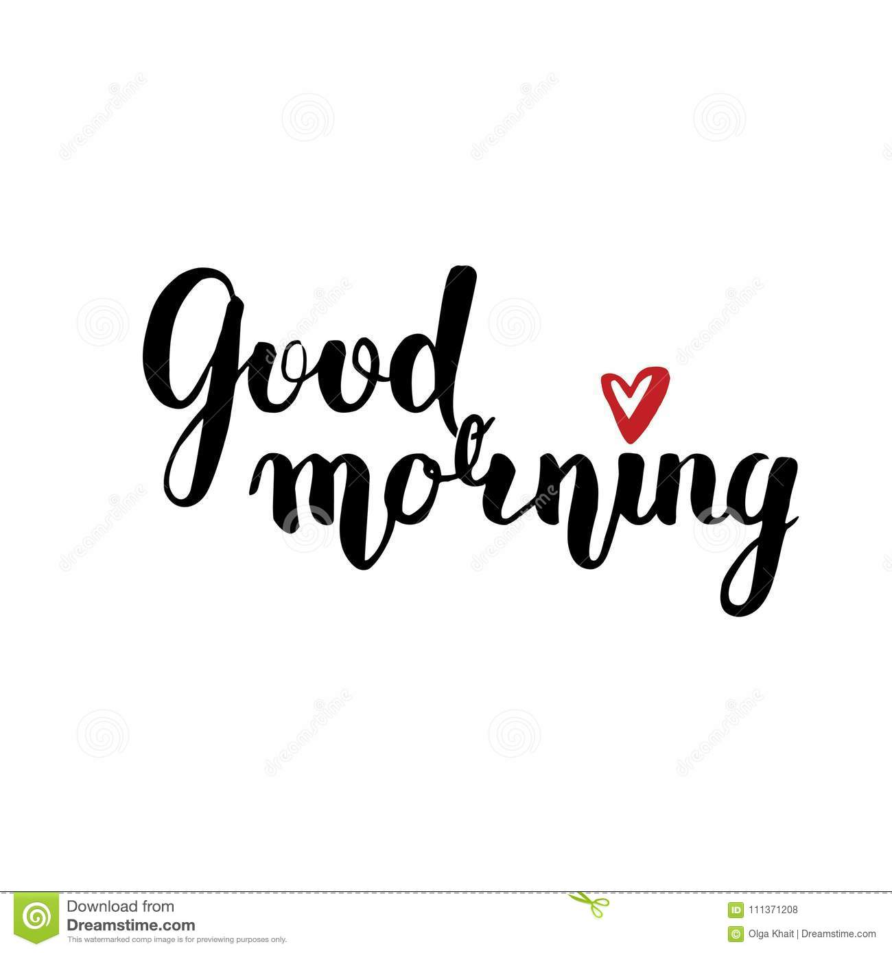 Good Morning Brush Calligraphy Cartoon Vector
