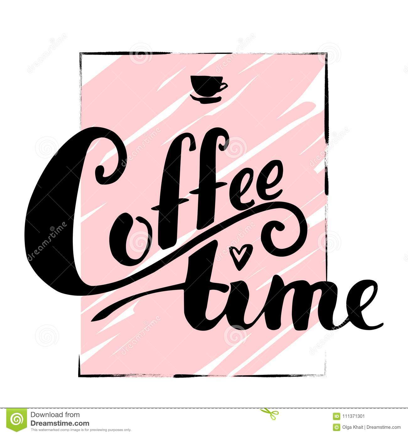 Vector lettering hot coffee. Black text instead of a dot over th