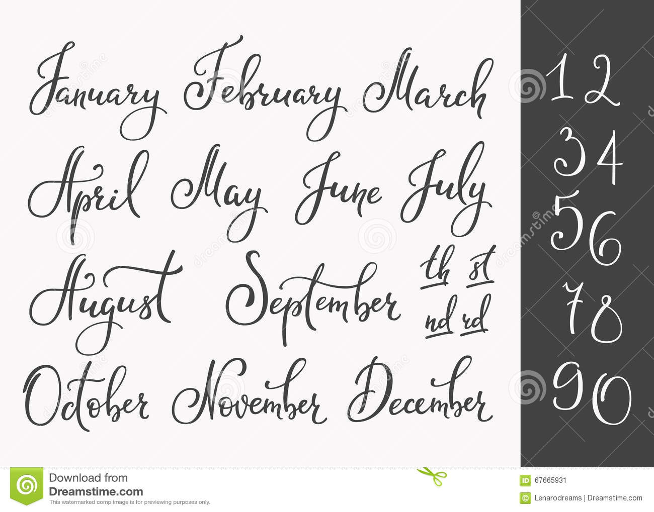 Calendar Typography Generator : Vector lettering months names set stock illustration