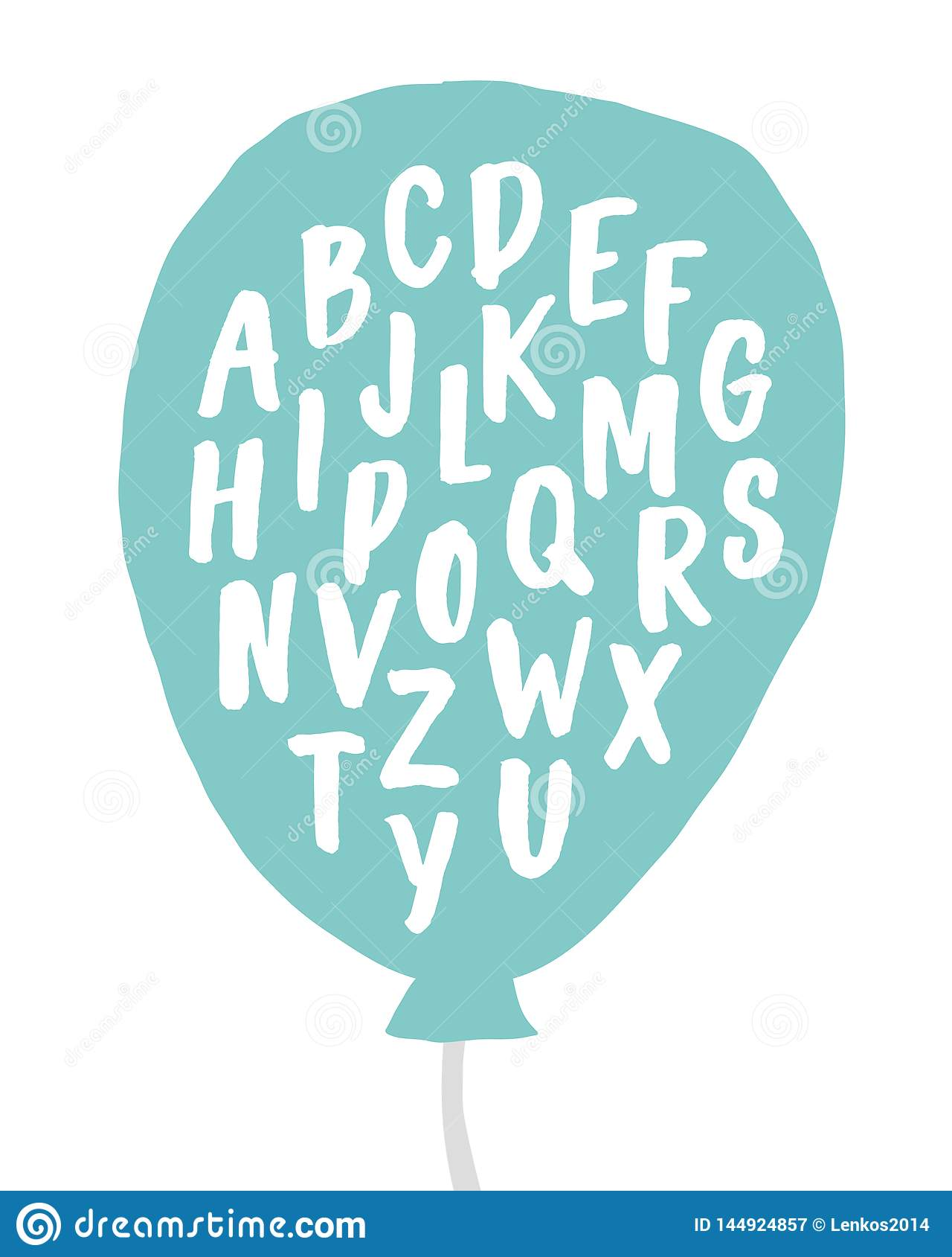 Vector lettering typography poster with hand written alphabet. Trendy childish print design, greeting card, home