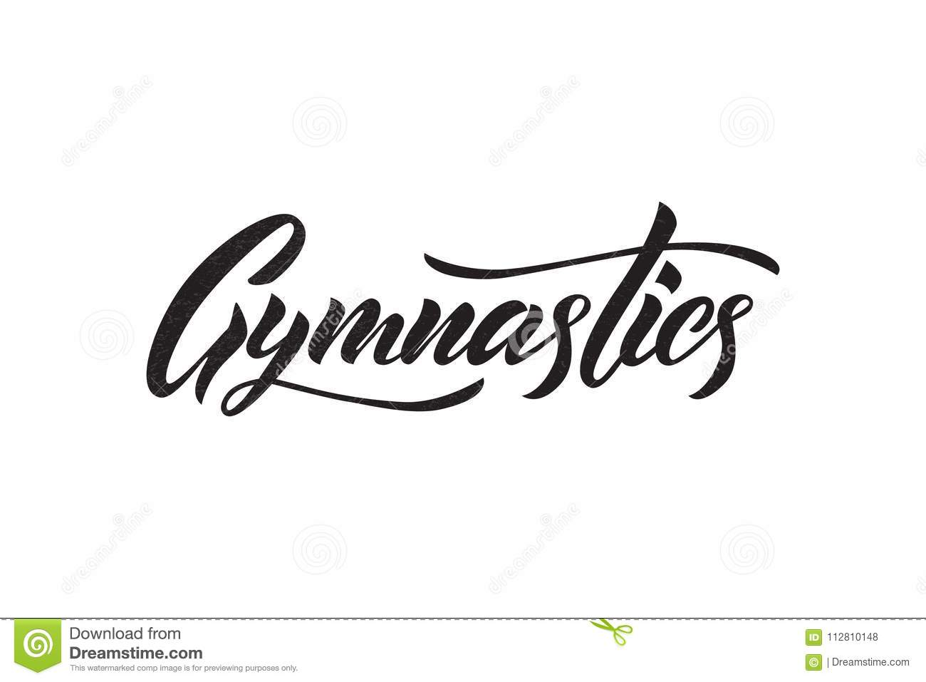 Vector Lettering Of Word Gymnastics Black Color Stock Vector