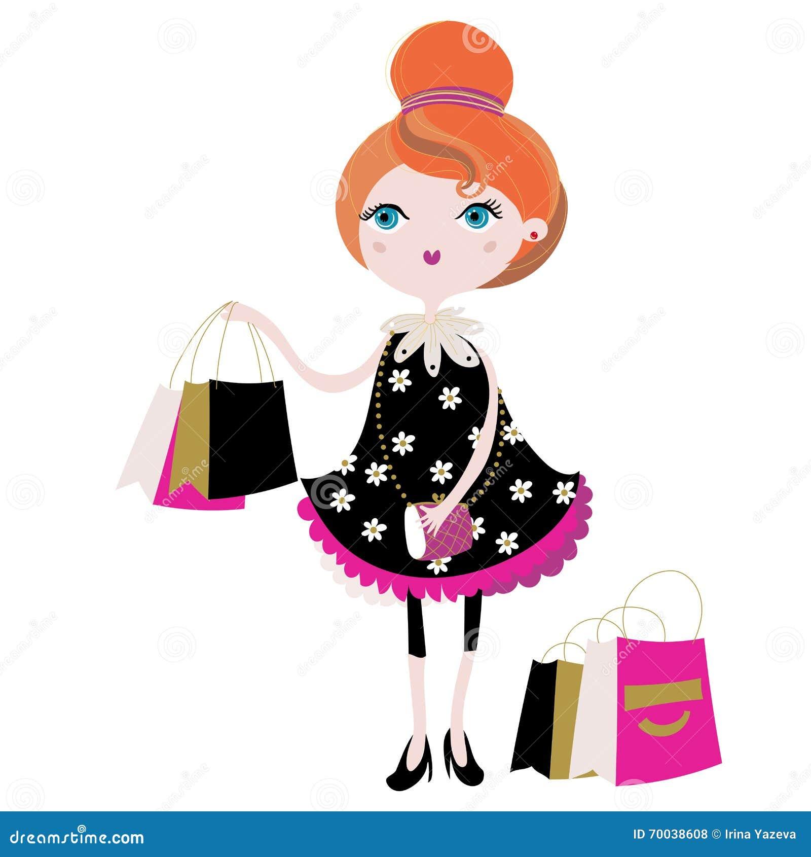 Vector leuk maniermeisje met het winkelen zakken stock illustratie afbeelding 70038608 - Parijs zoet ...