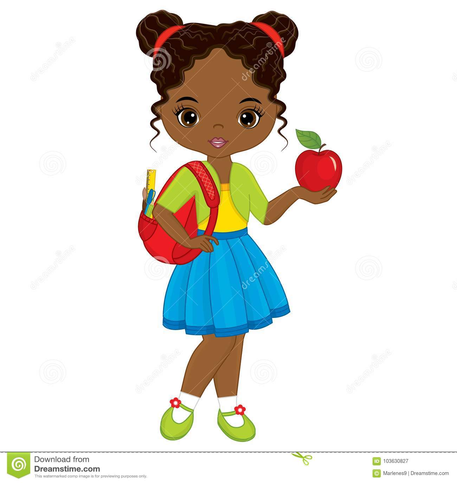 Vector Leuk Weinig Afrikaans Amerikaans Meisje met Schooltas en Rood Apple