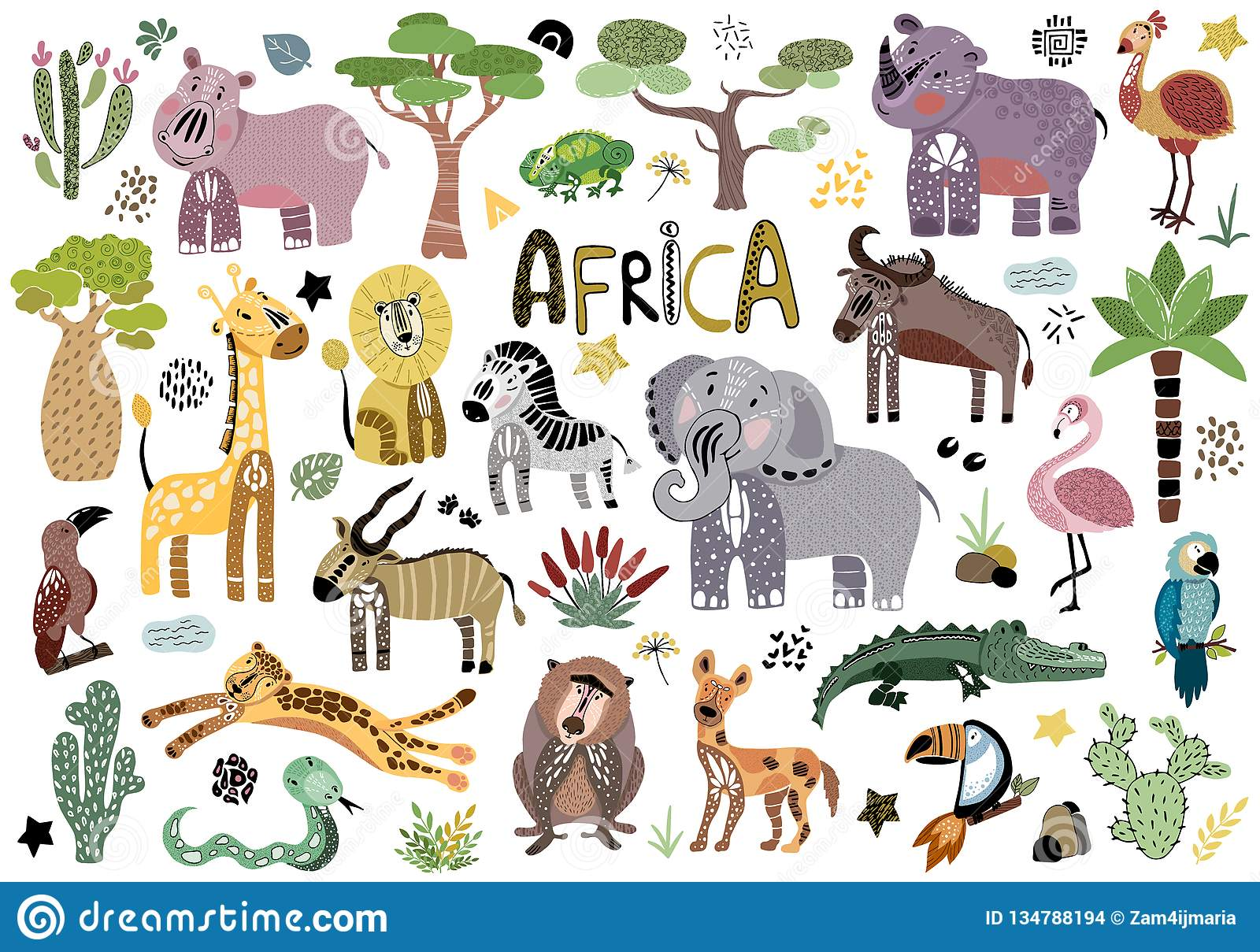 Vector leuke Afrikaanse dieren